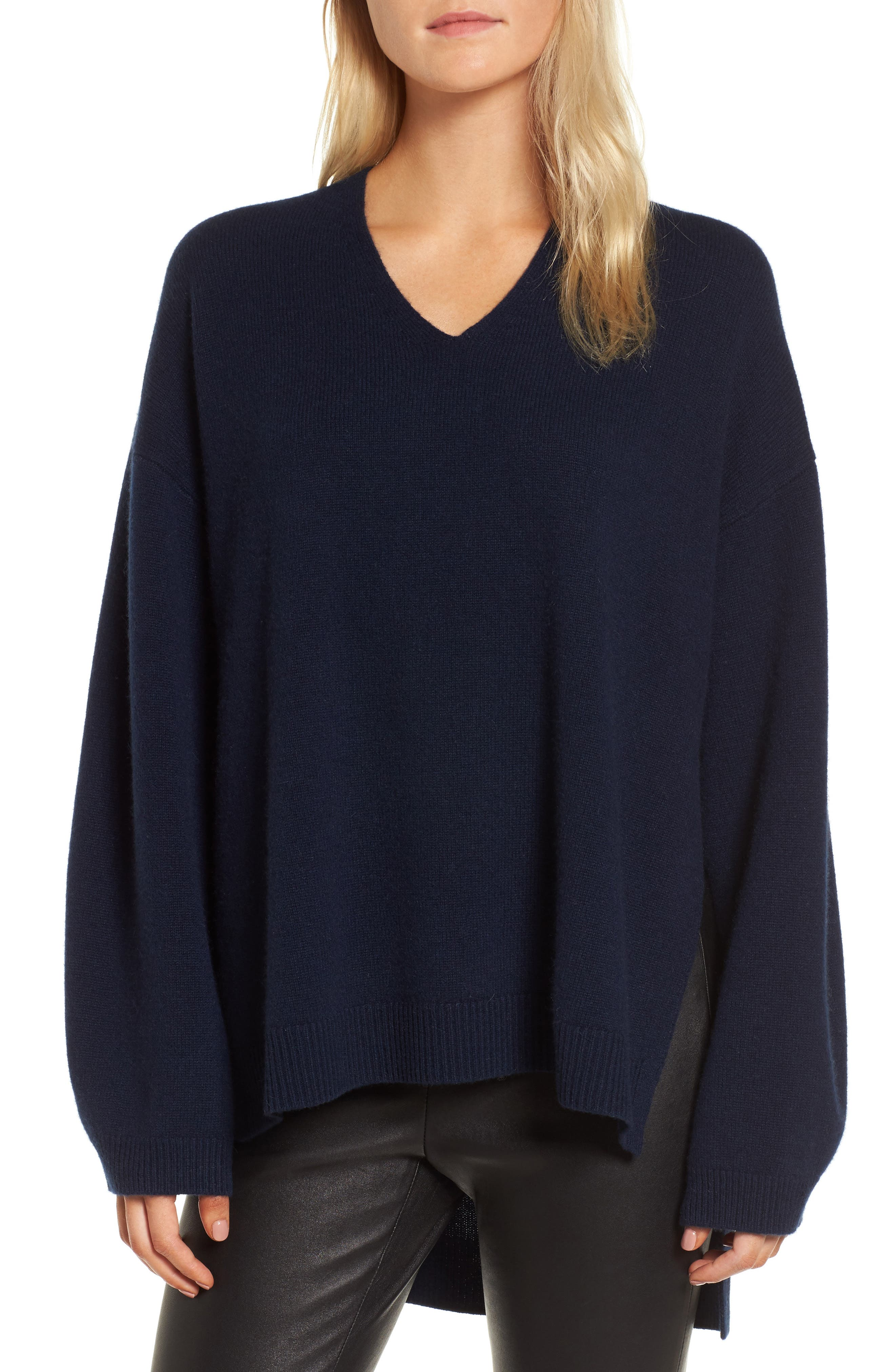 Cashmere High/Low Tunic Sweater,                             Main thumbnail 1, color,                             Navy Medieval