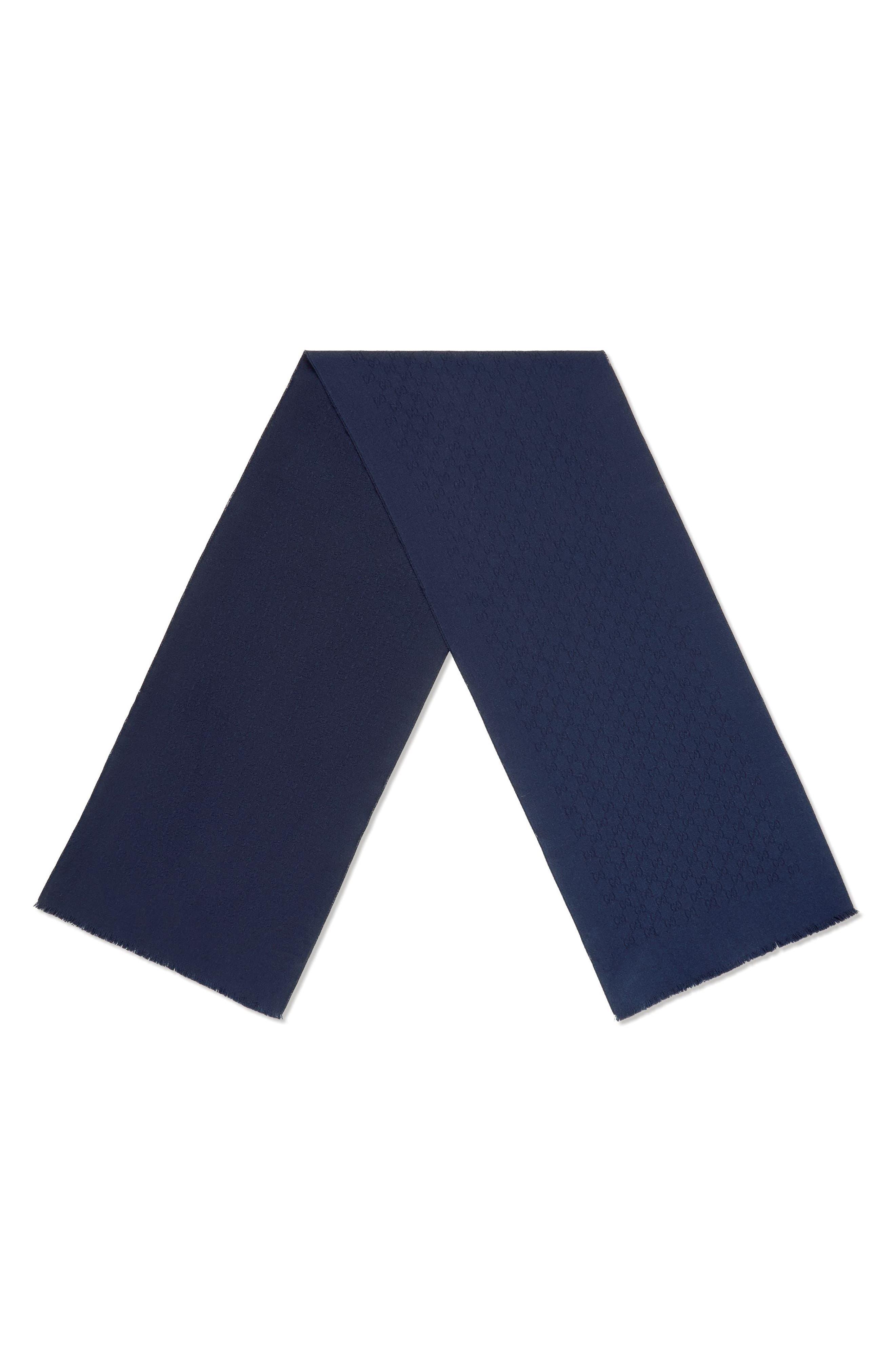 GG Gem Lux Jacquard Cashmere Scarf,                             Alternate thumbnail 2, color,                             4000 Midnight Blue