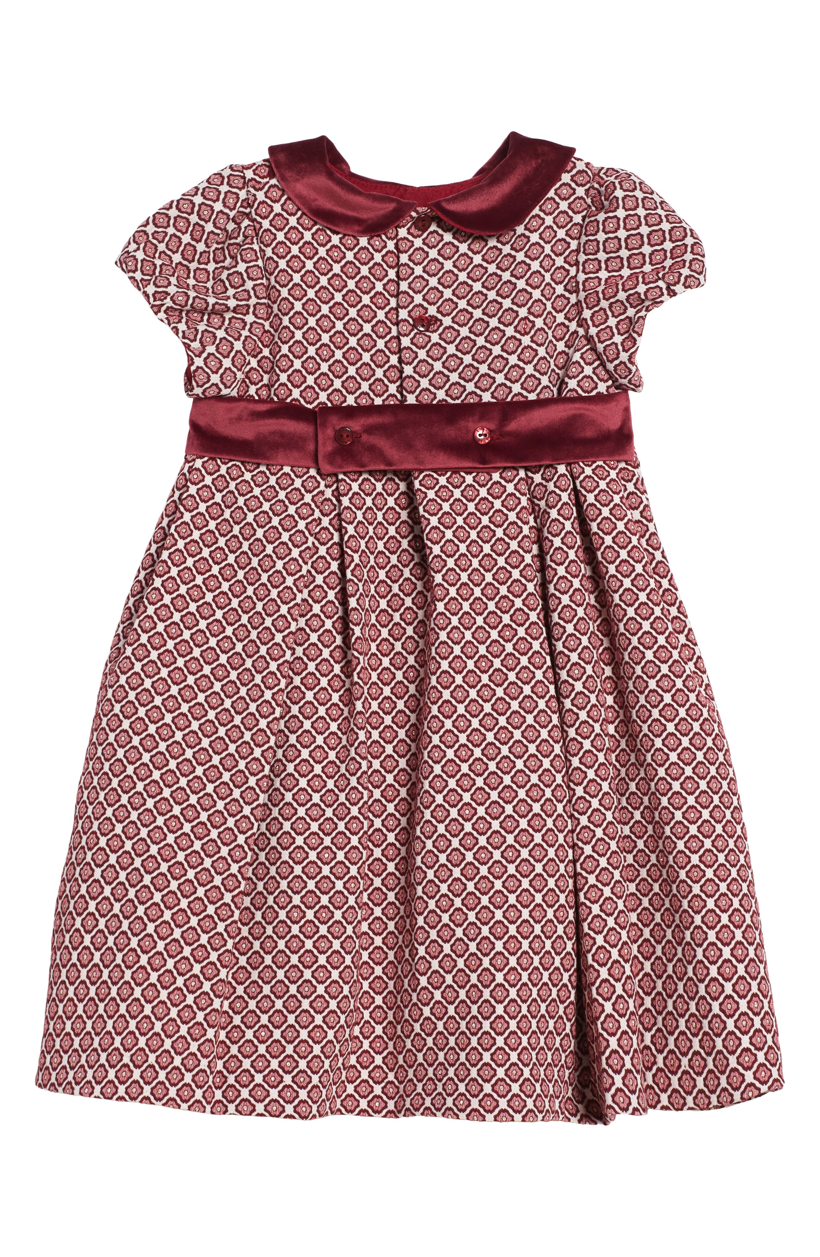 Floral Jacquard Dress,                             Alternate thumbnail 2, color,                             Burgundy