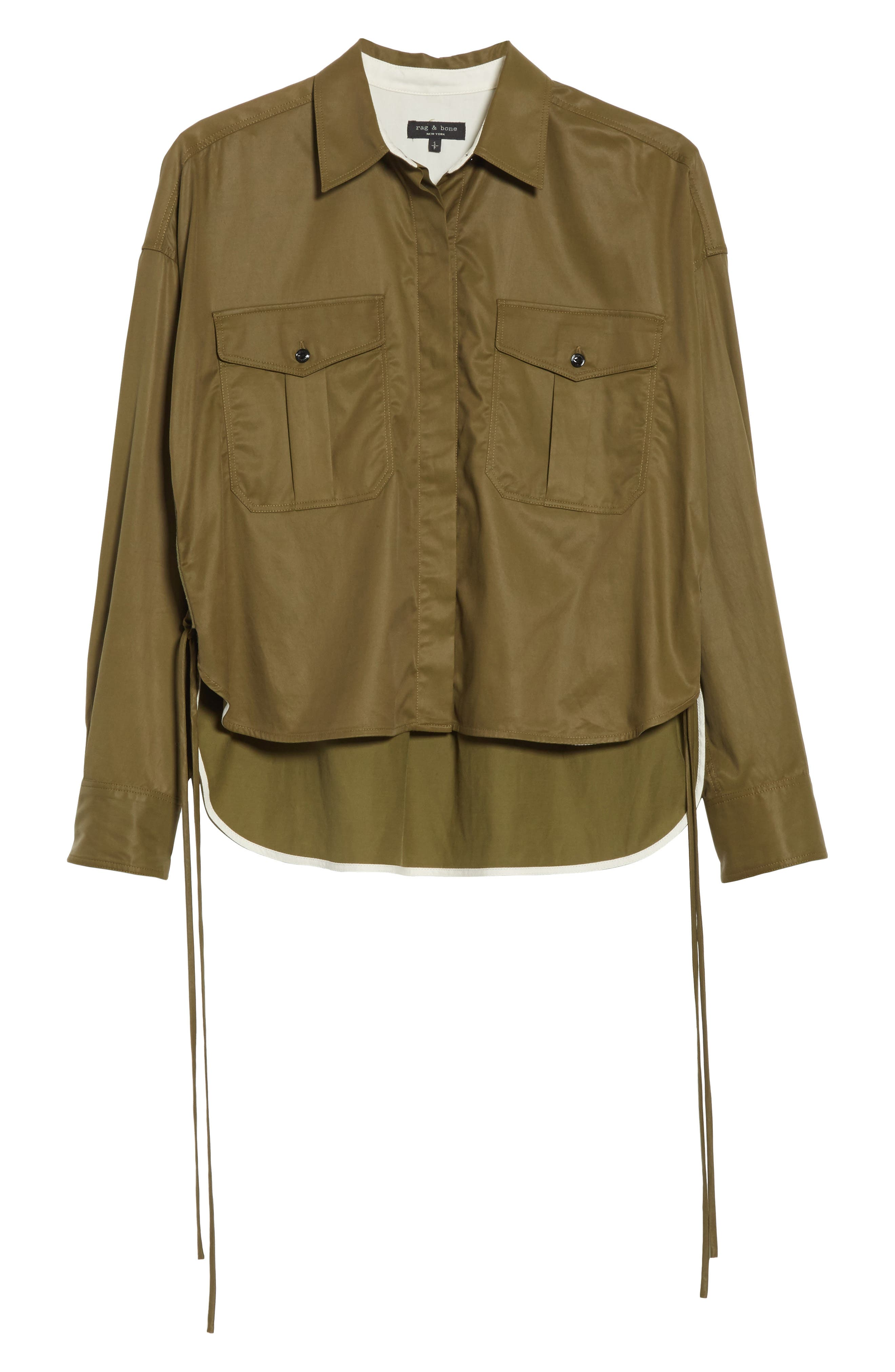 Mason Crop Shirt,                             Alternate thumbnail 6, color,                             Army Green