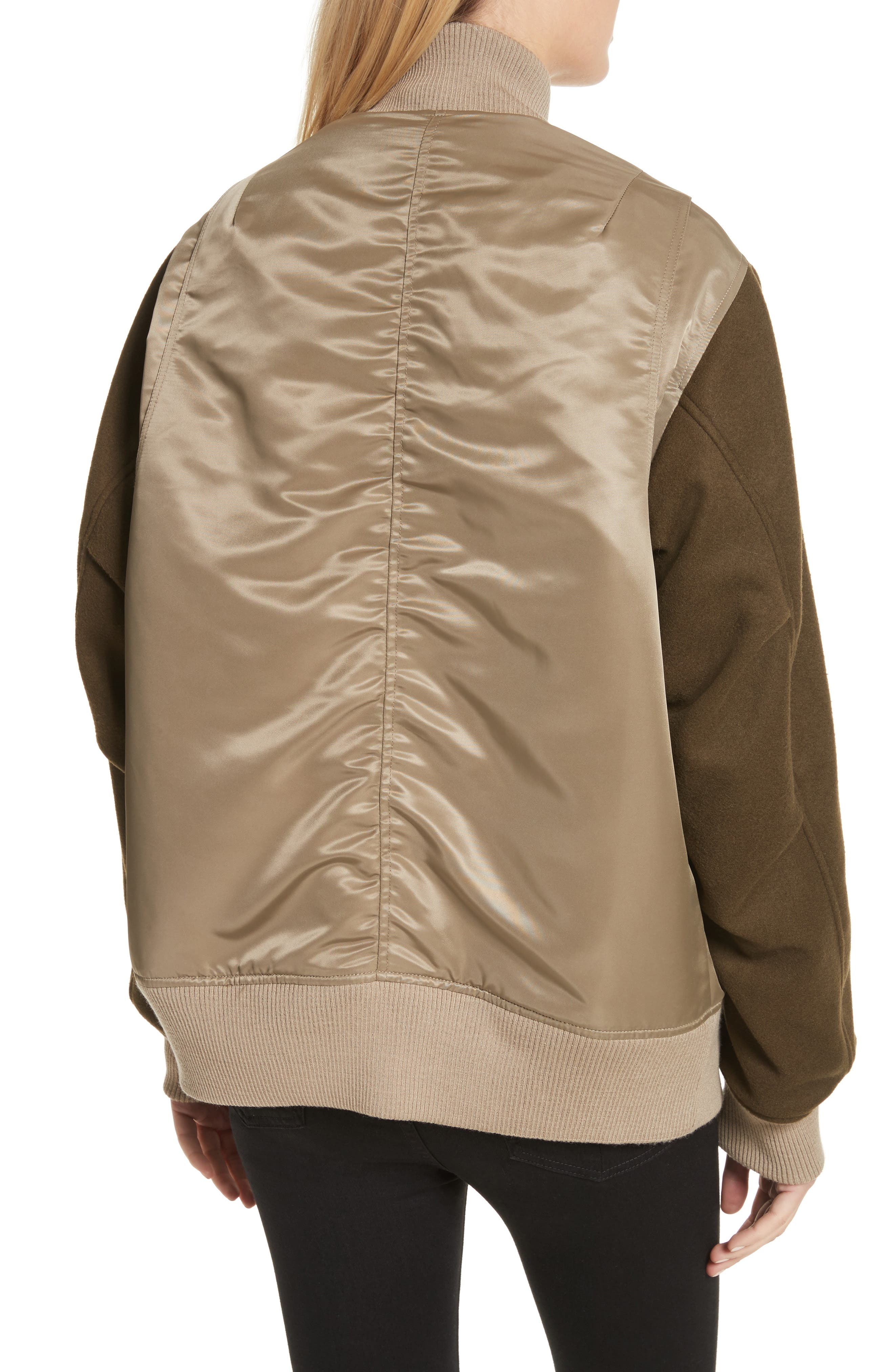 Elle Mixed Media Bomber Jacket,                             Alternate thumbnail 3, color,                             Army Green