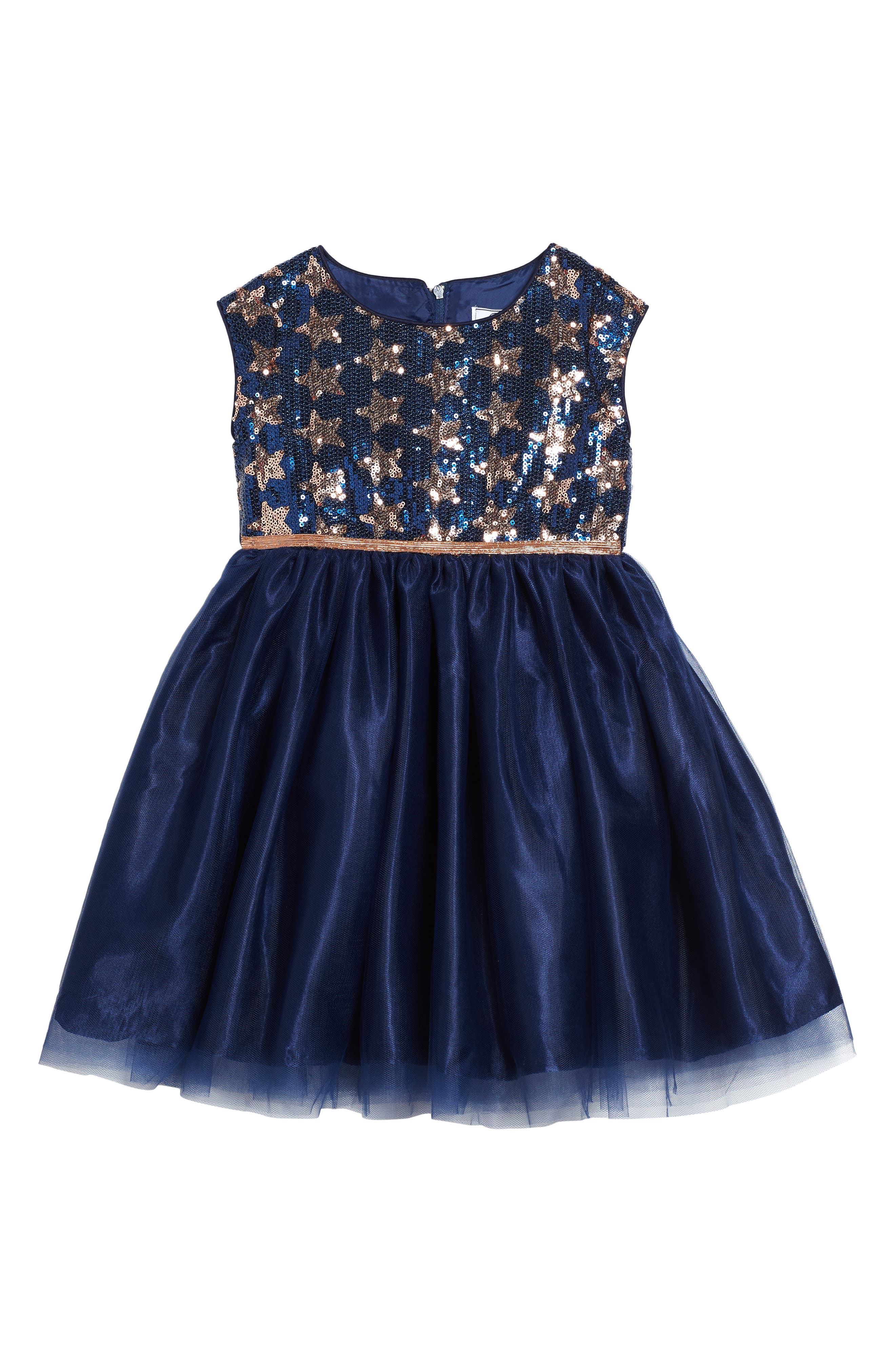 Lily Sequin Tulle Dress,                         Main,                         color, Navy/ Copper