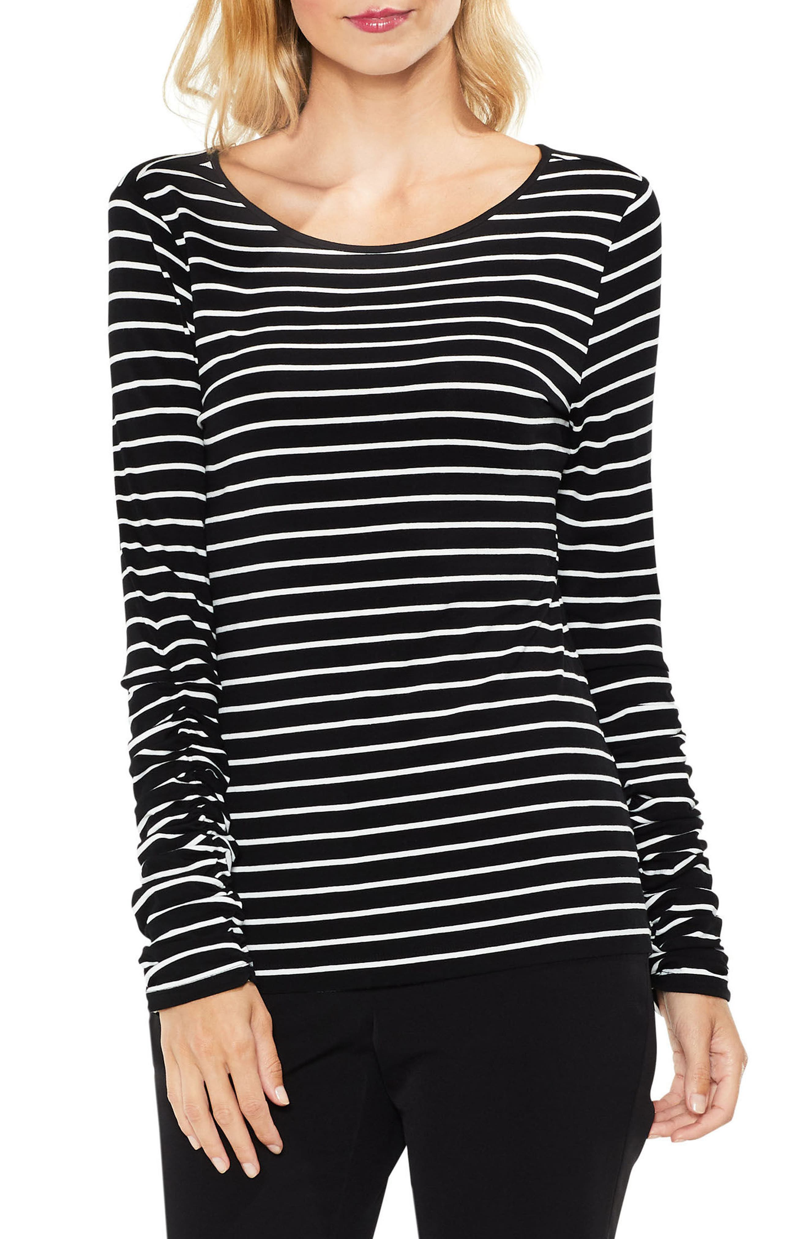 Alternate Image 1 Selected - Vince Camuto Ruched Linear Stripe Top (Regular & Petite)