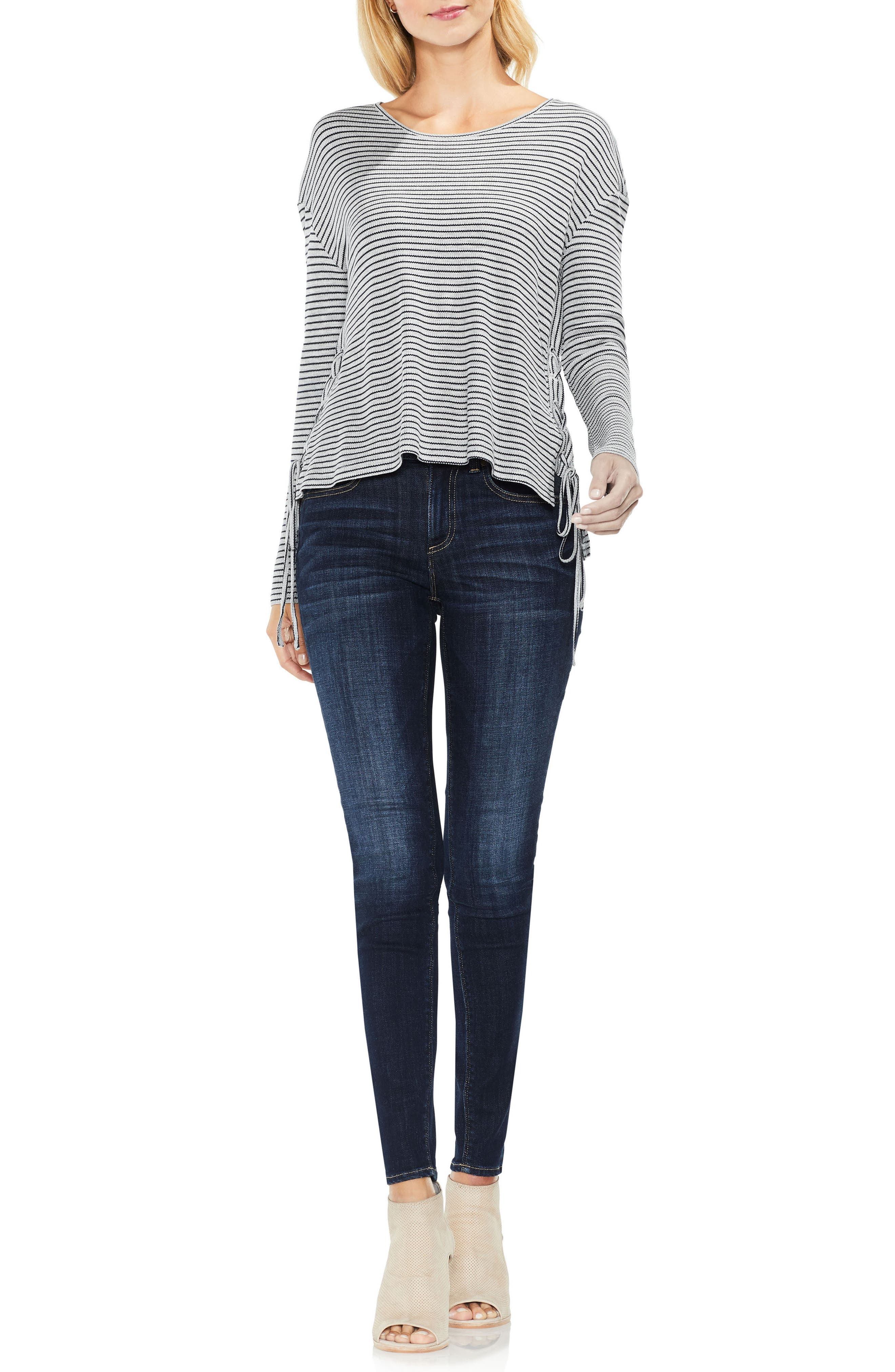 Lace-Up Side Stripe Top,                             Alternate thumbnail 3, color,                             Light Heather Grey