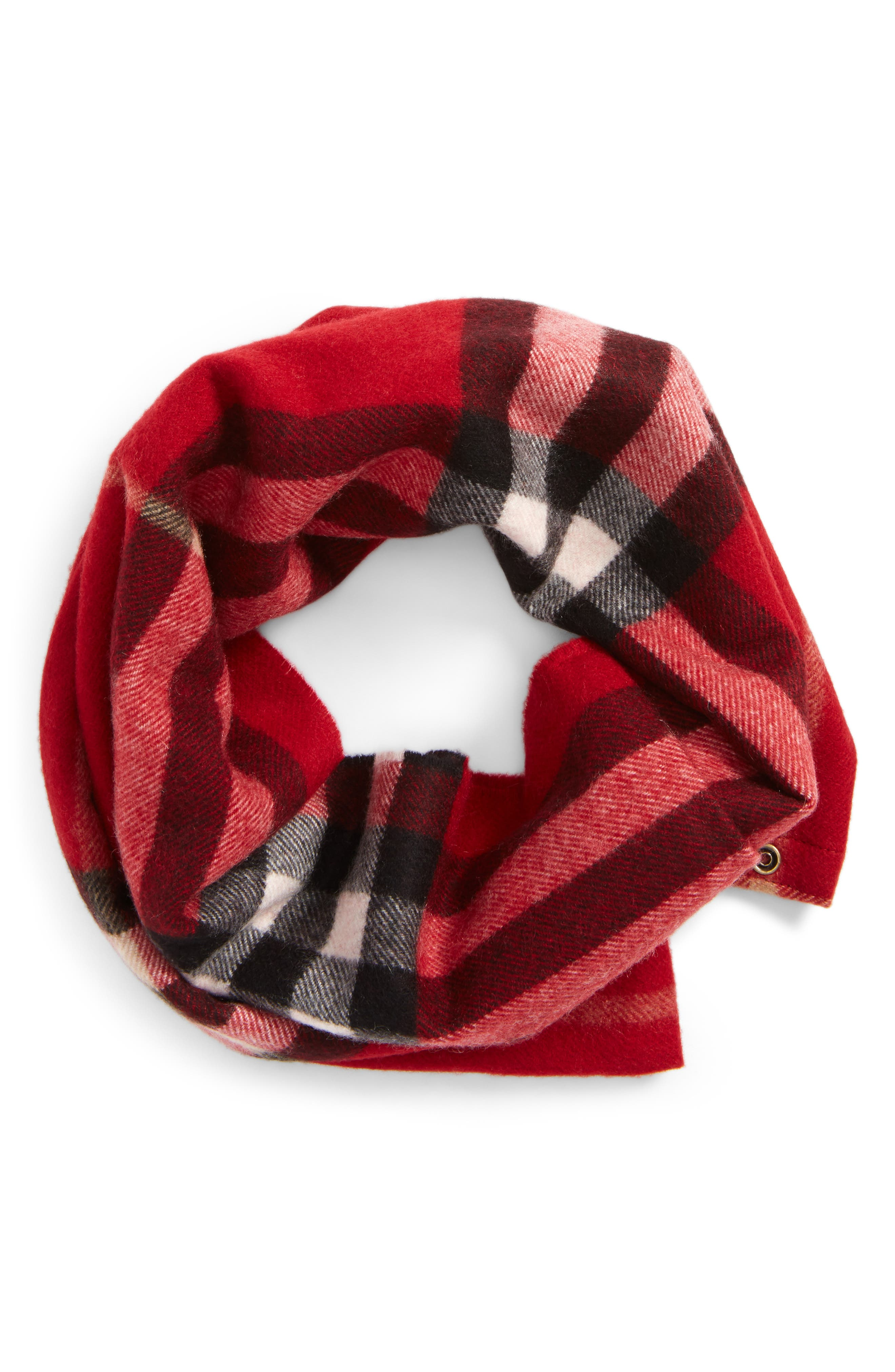 Cashmere Snood,                             Main thumbnail 1, color,                             Parade Red
