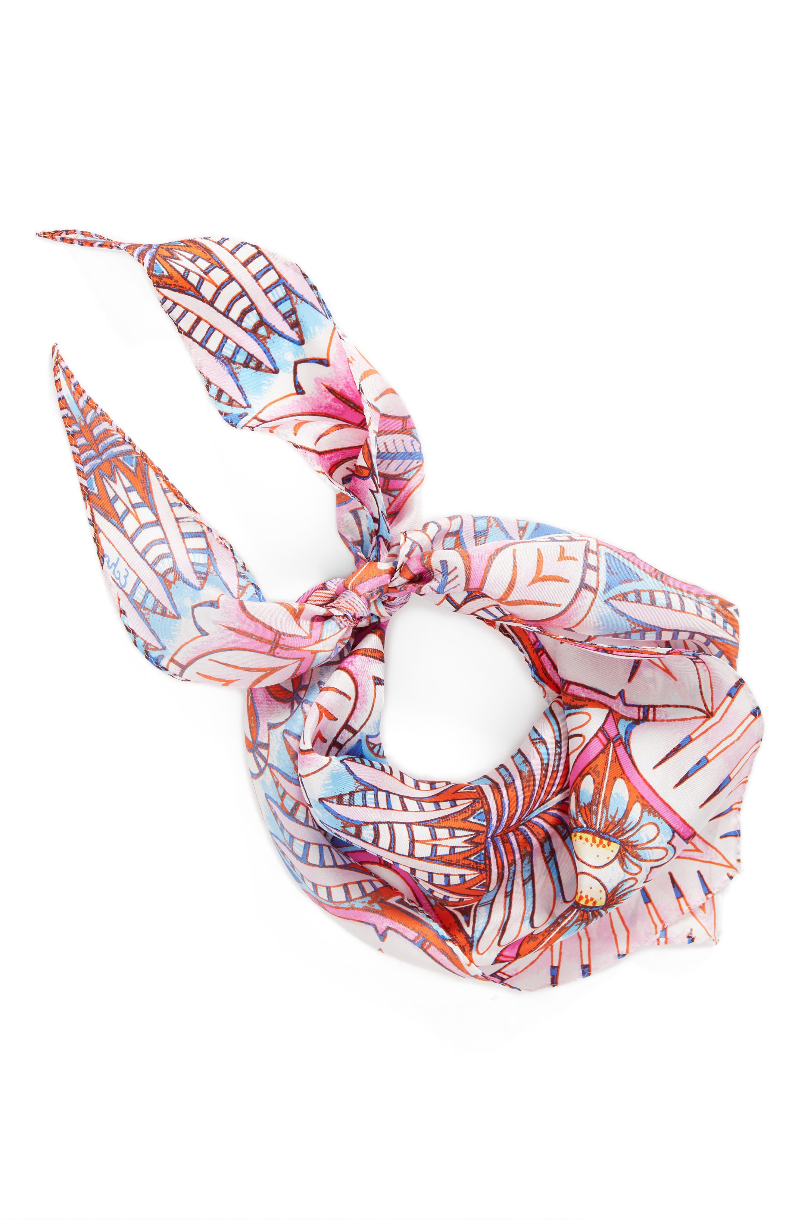Island Palm Diamond Silk Scarf,                             Alternate thumbnail 3, color,                             Cockatoo Pink