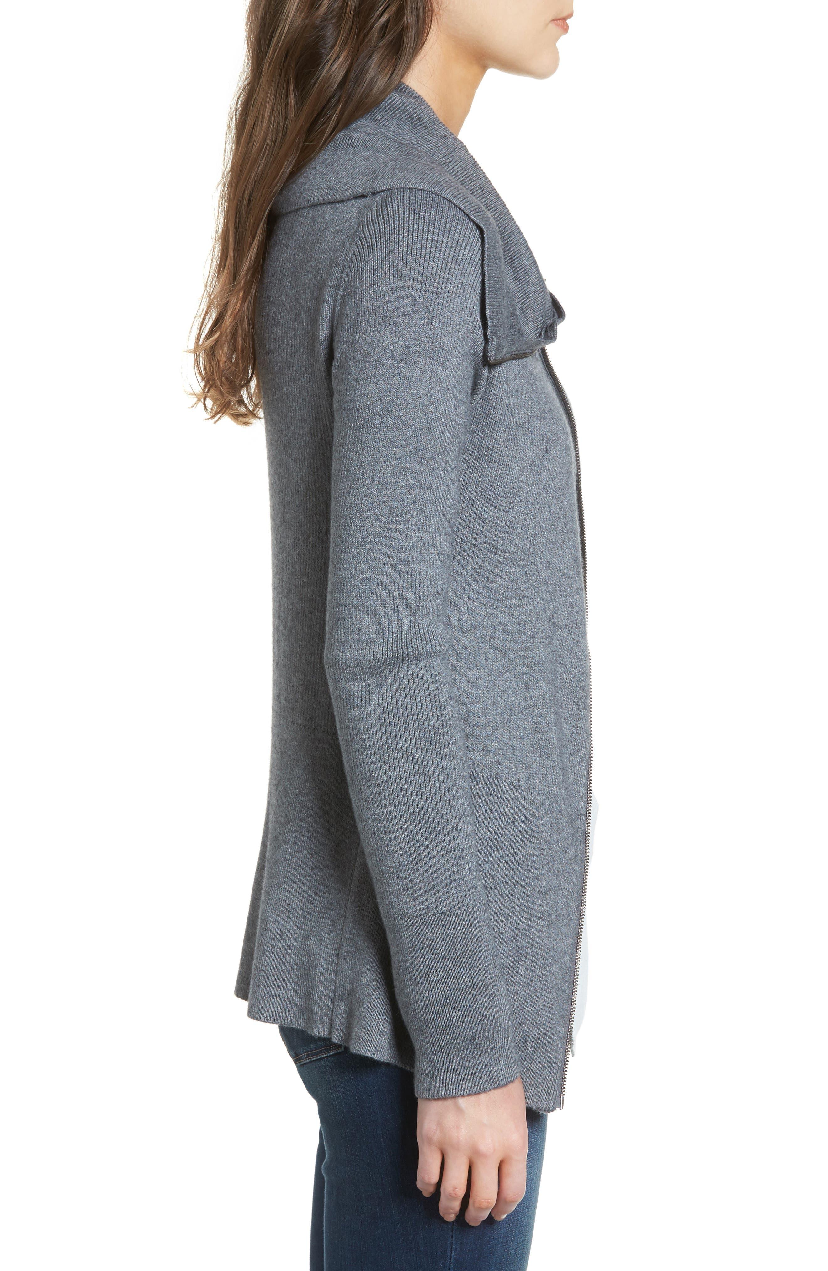 Wide Collar Zip Sweater,                             Alternate thumbnail 3, color,                             Grey Dark Heather