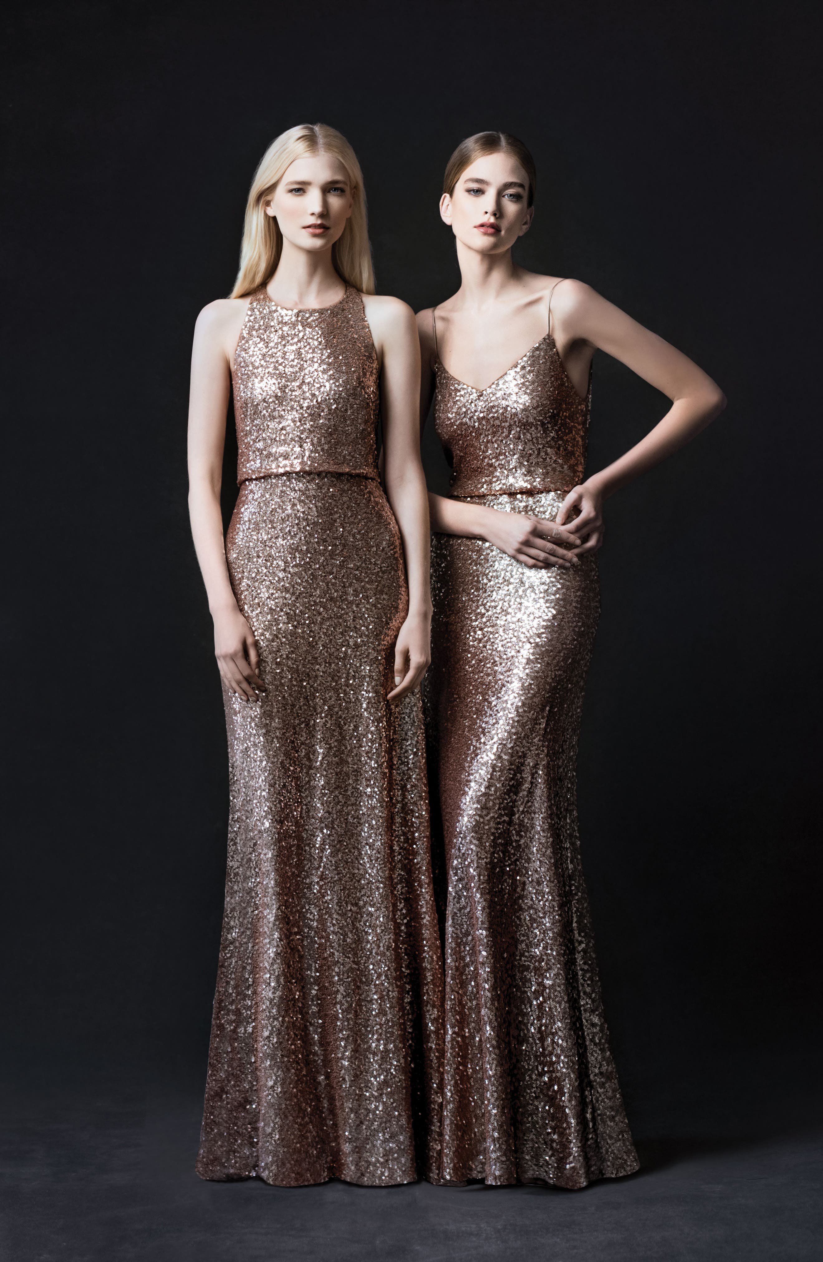 Jules Sequin Blouson Gown with Detachable Back Cowl,                             Alternate thumbnail 6, color,                             Rose Gold
