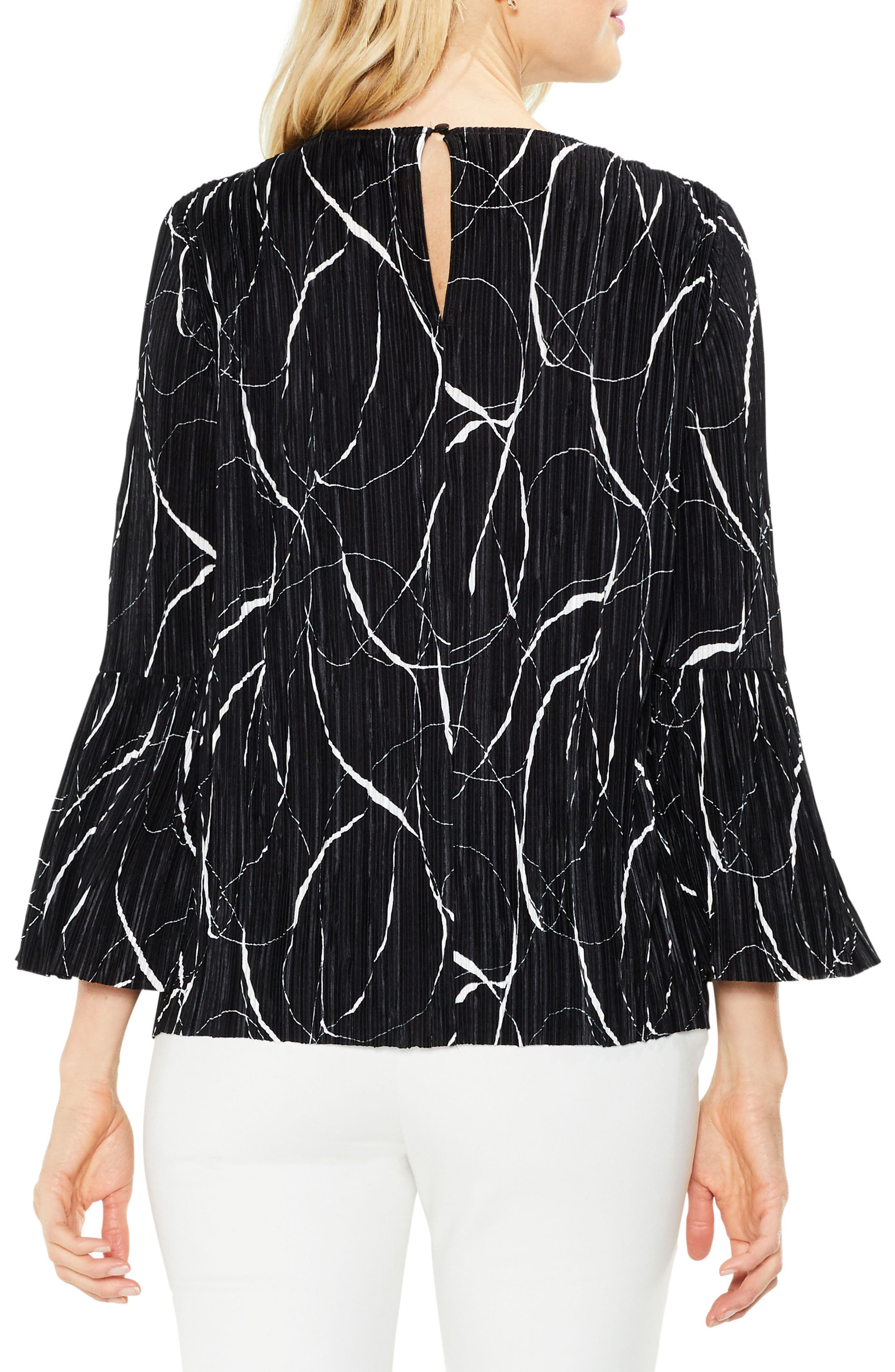 Ink Swirl Bell Sleeve Top,                             Alternate thumbnail 2, color,                             Rich Black