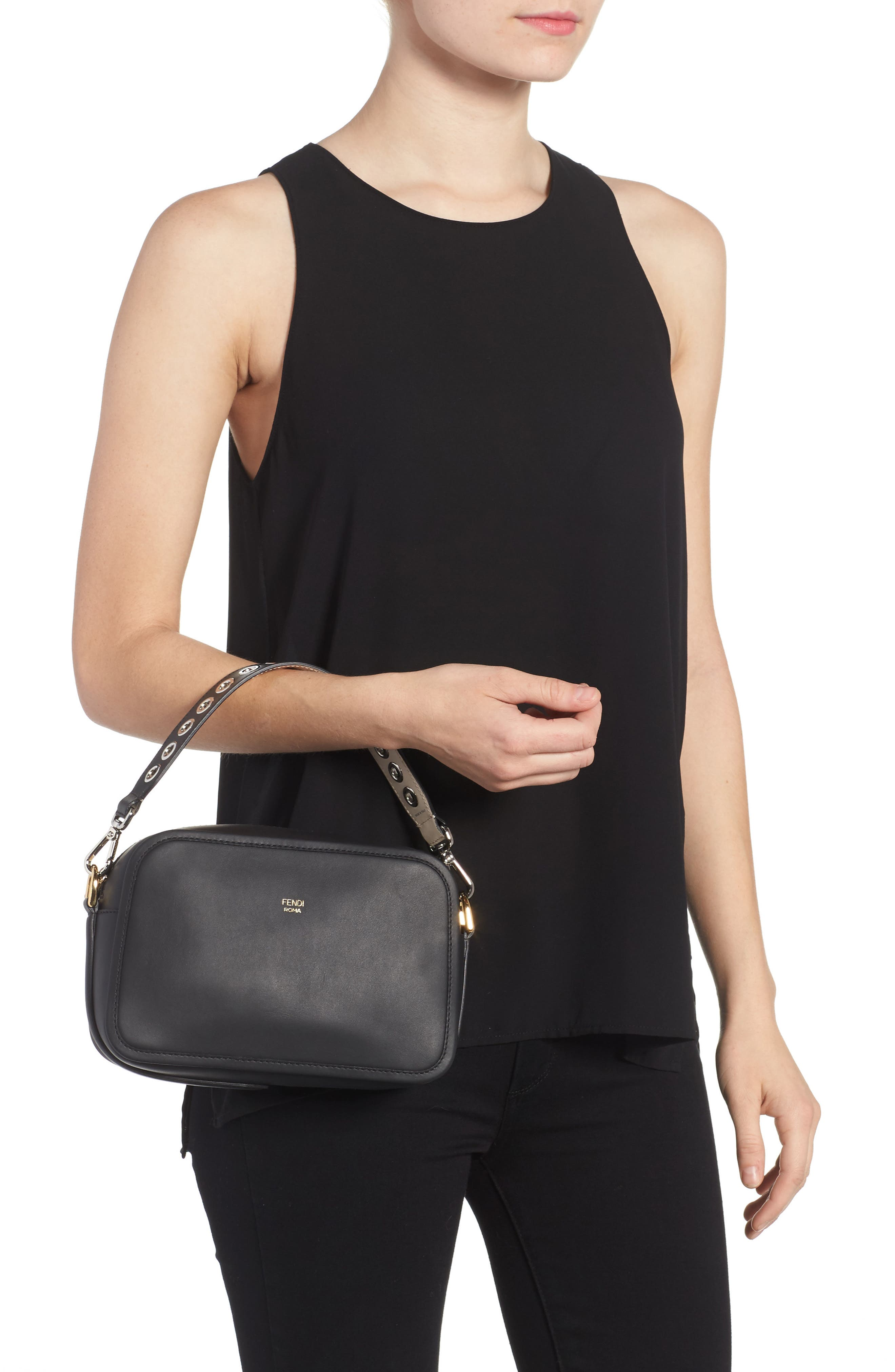 Mini Strap You Reversible Leather Top Handle Strap,                             Alternate thumbnail 2, color,                             Nero/ Ivory