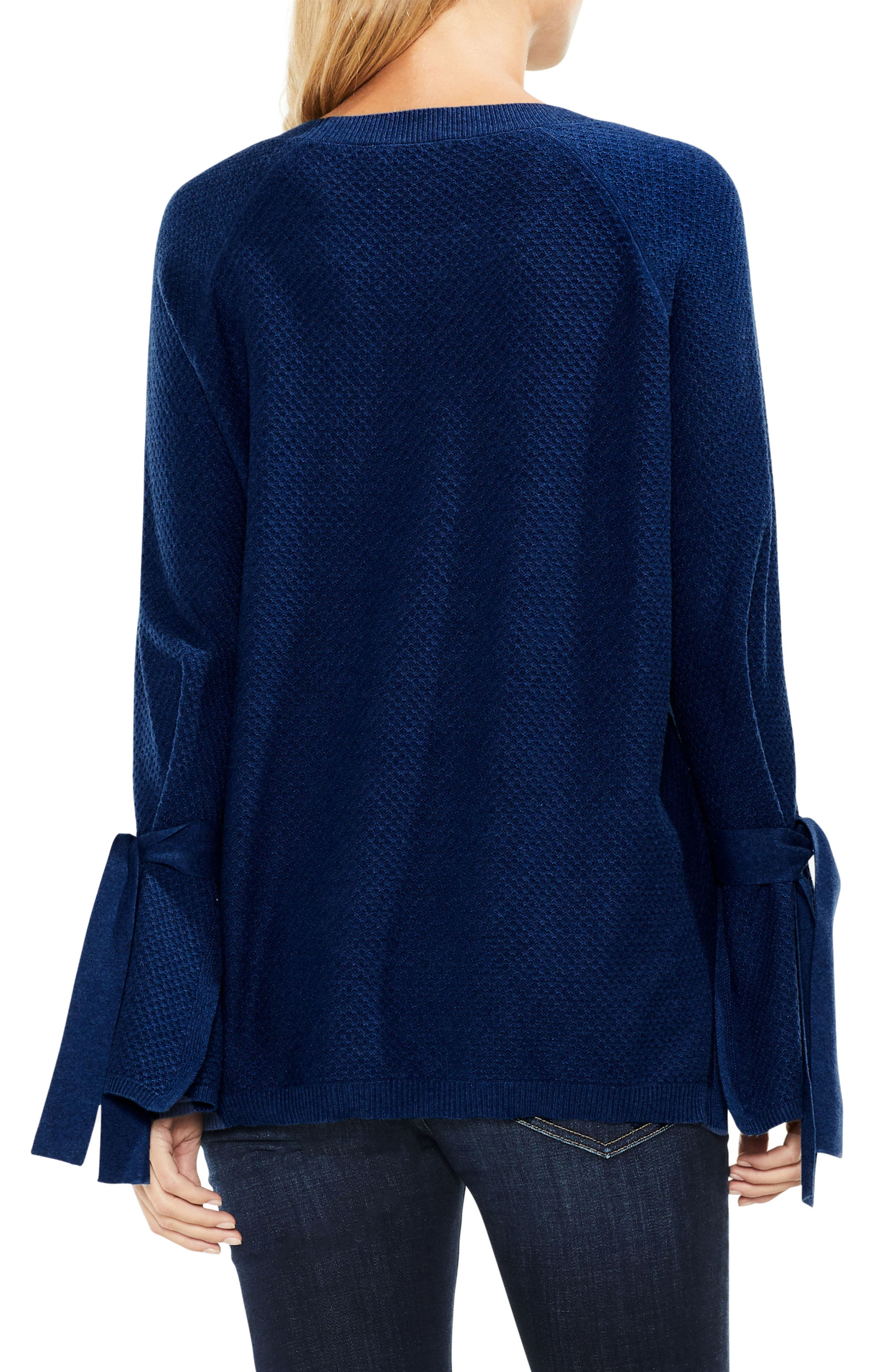 Alternate Image 2  - Two by Vince Camuto Texture Stitch Tie-Sleeve Top (Regular & Petite)