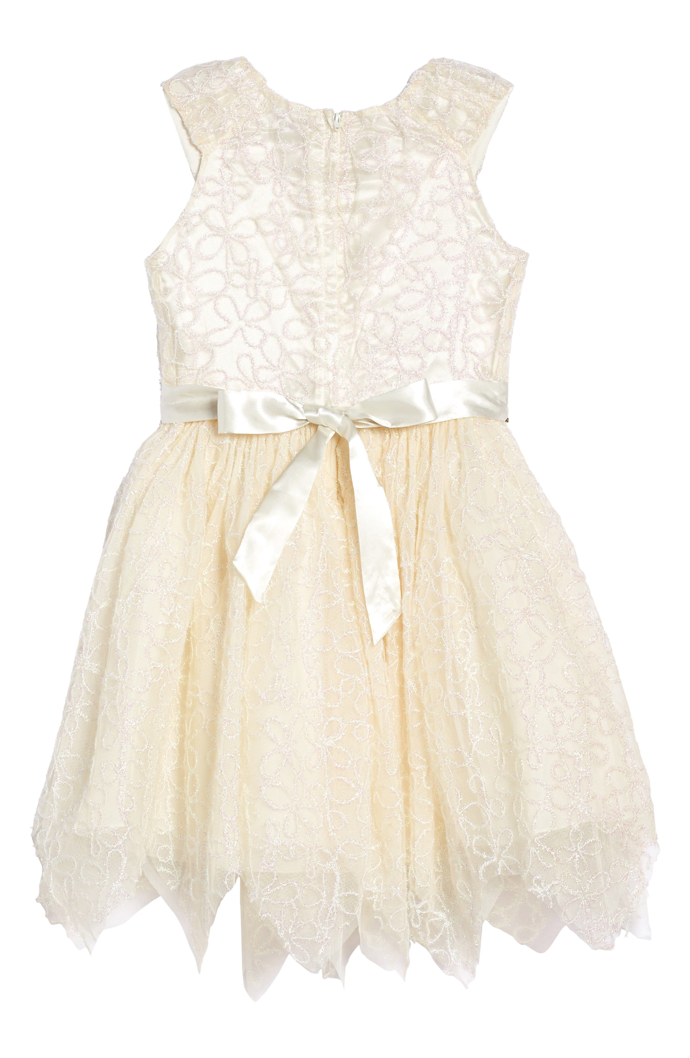Embroidered Mesh Dress,                             Alternate thumbnail 2, color,                             Cream