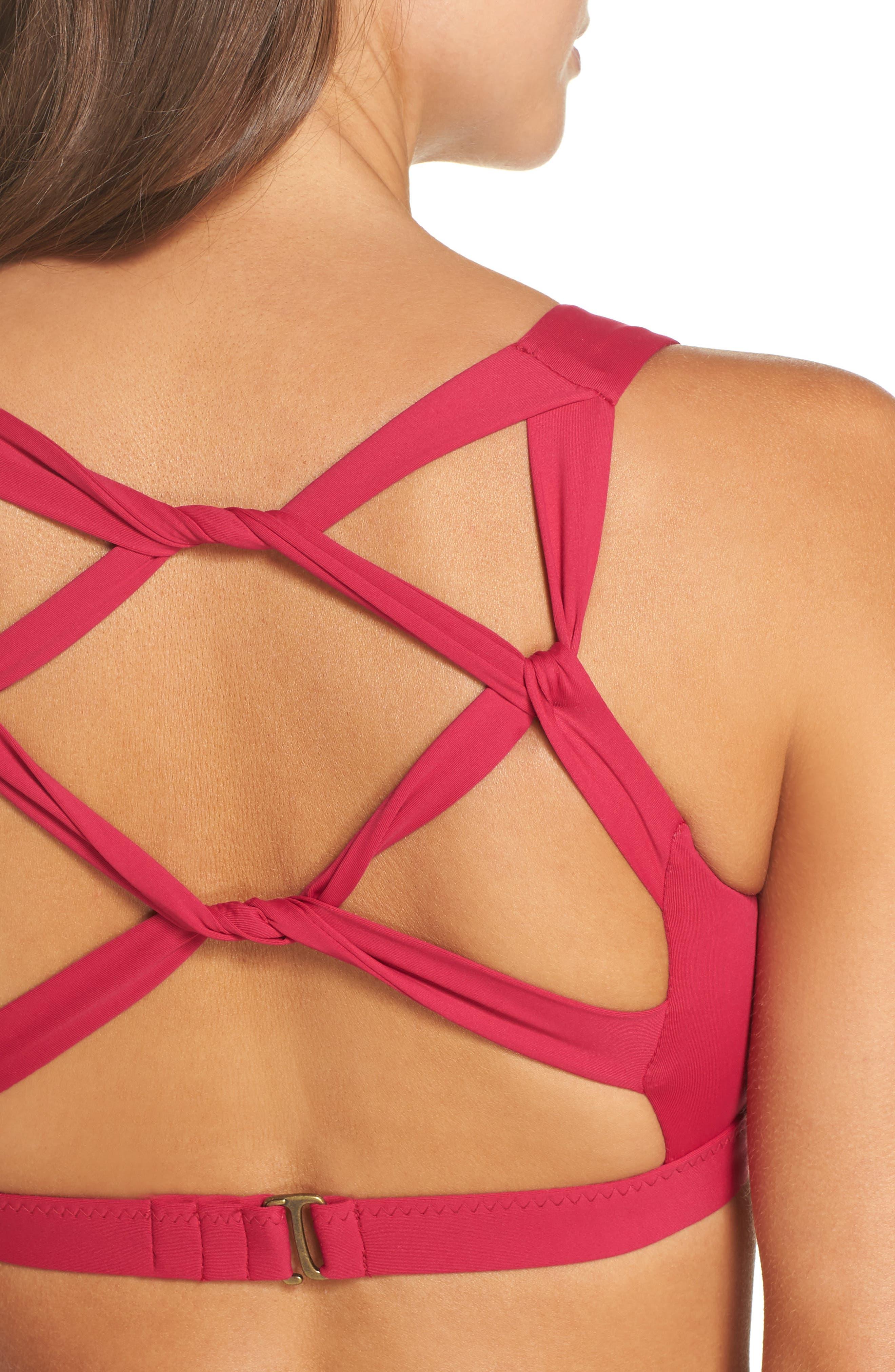Color Splash Twist Back Bikini Top,                             Alternate thumbnail 4, color,                             Raspberry