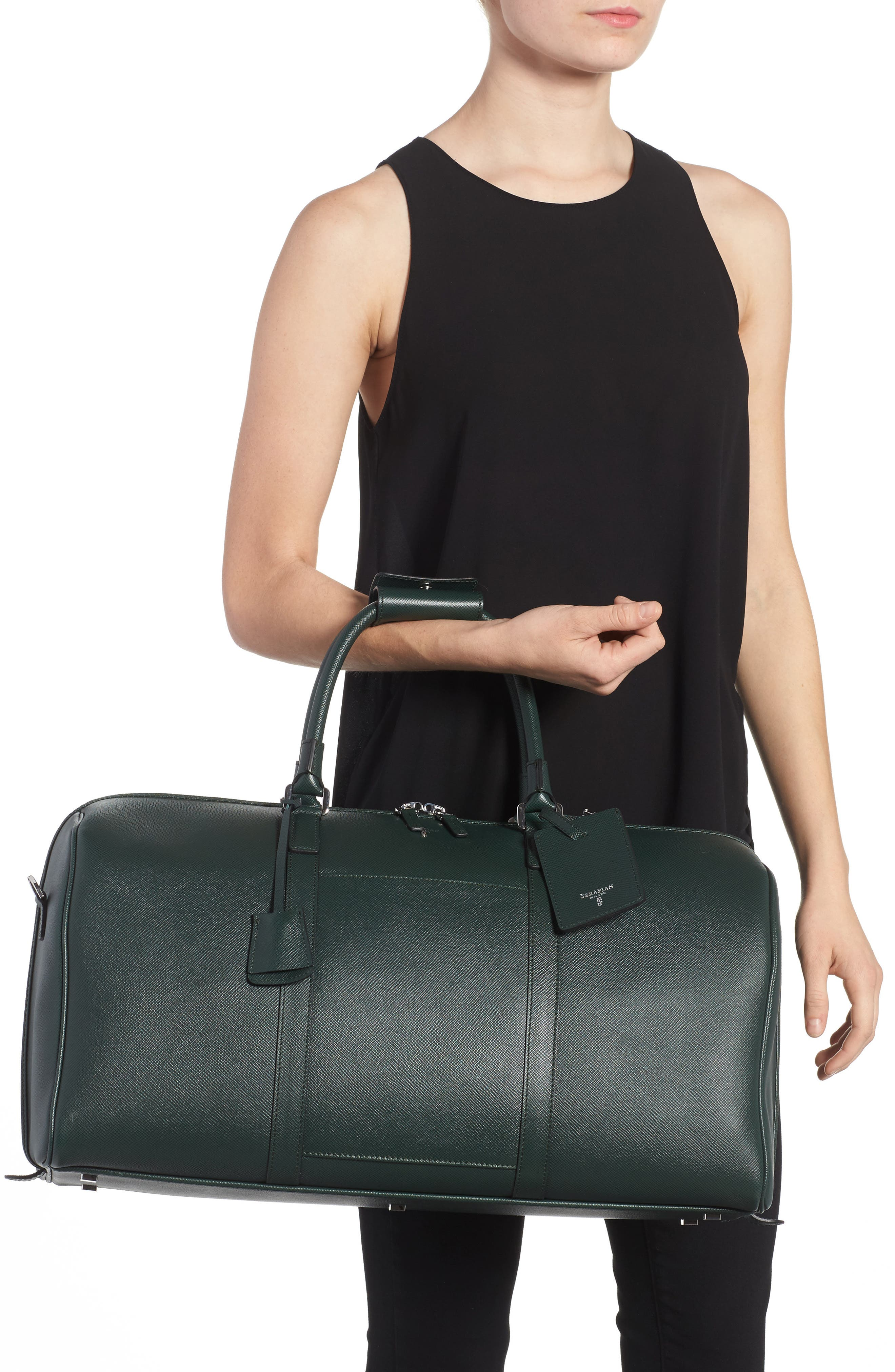 Small Evolution Leather Duffel Bag,                             Alternate thumbnail 2, color,                             Forest Green