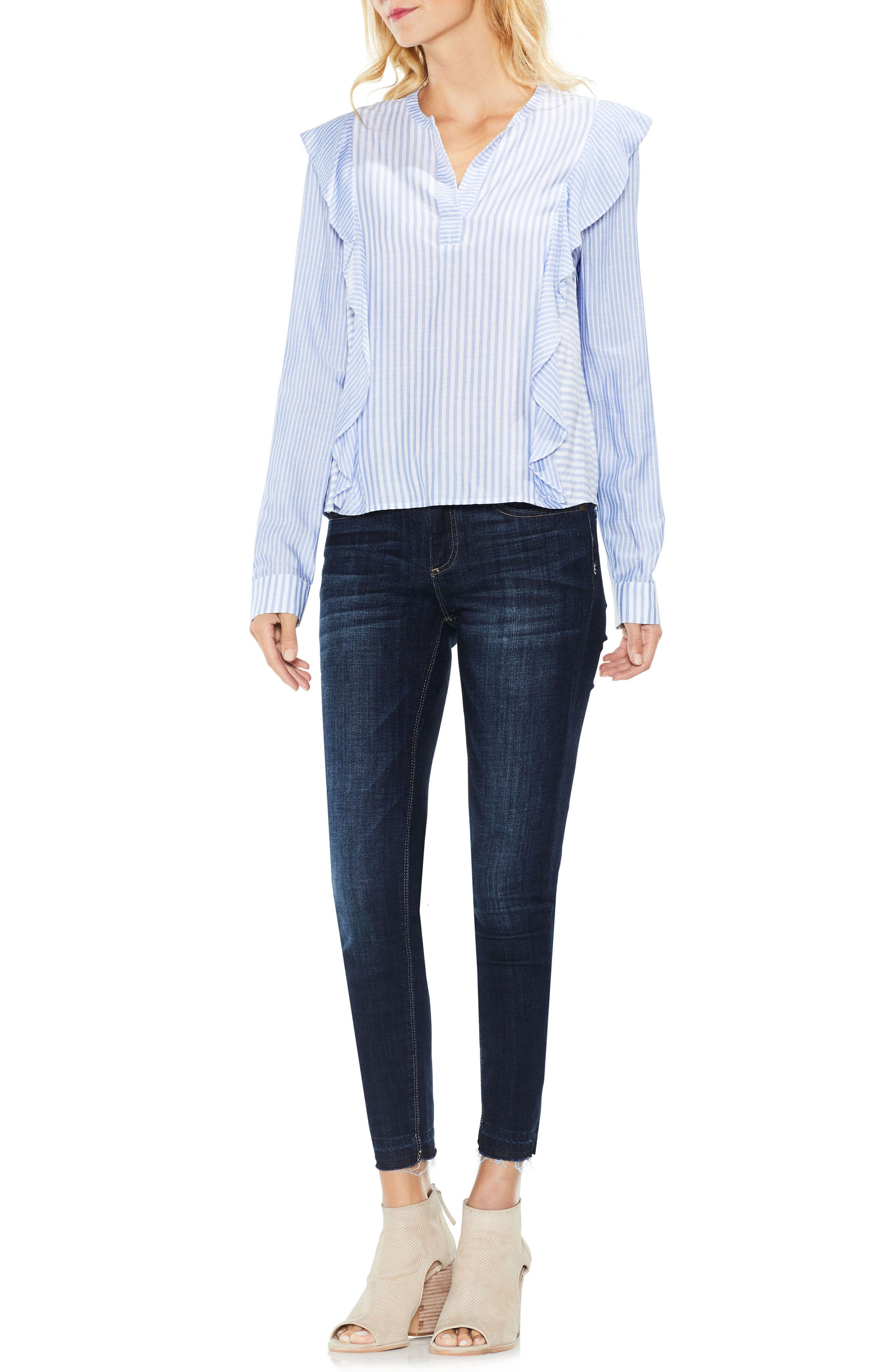 Alternate Image 3  - Two by Vince Camuto Mix Stripe Ruffle Top