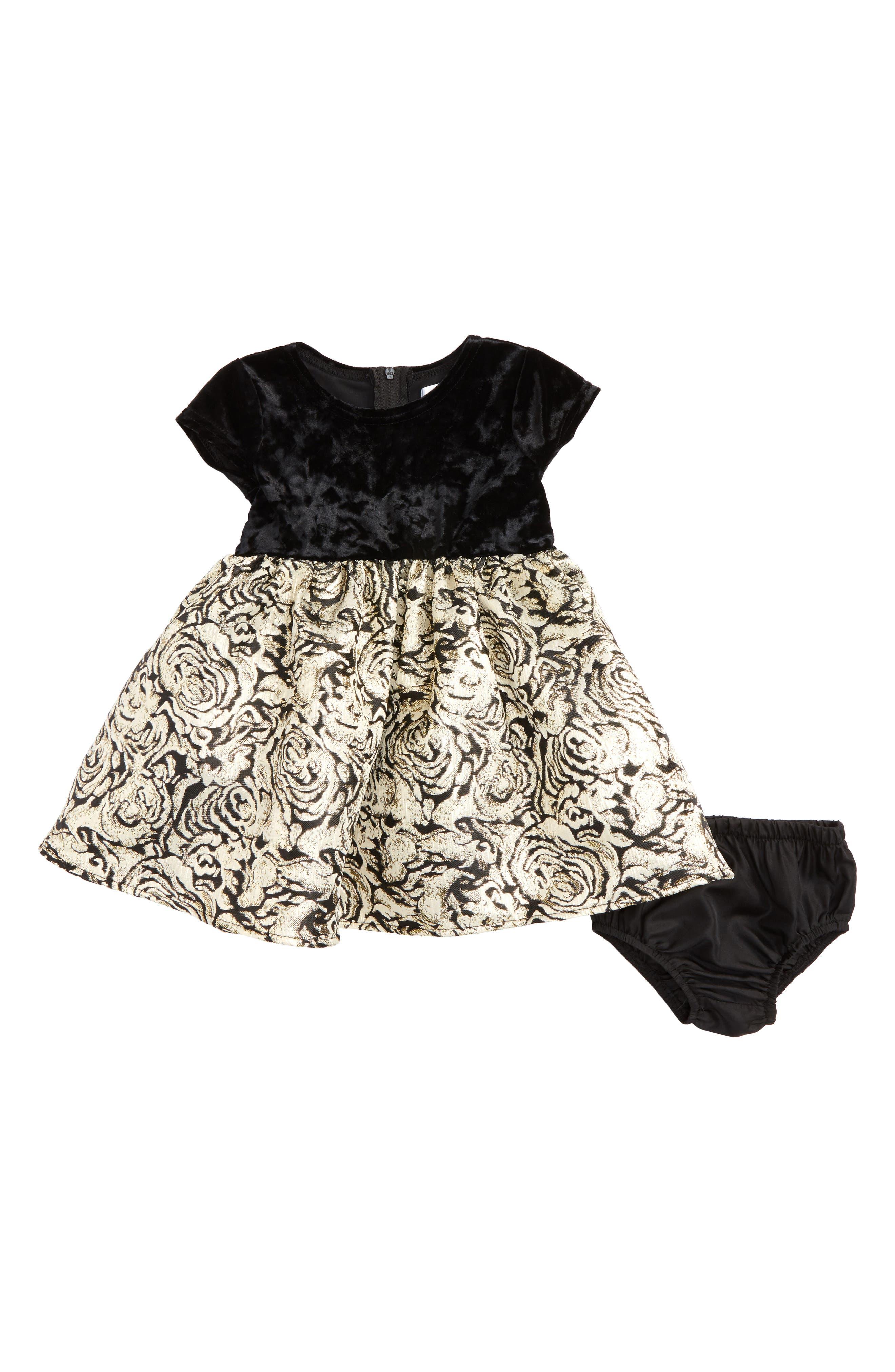 Velvet & Floral Jacquard Dress,                         Main,                         color, Black/ Gold