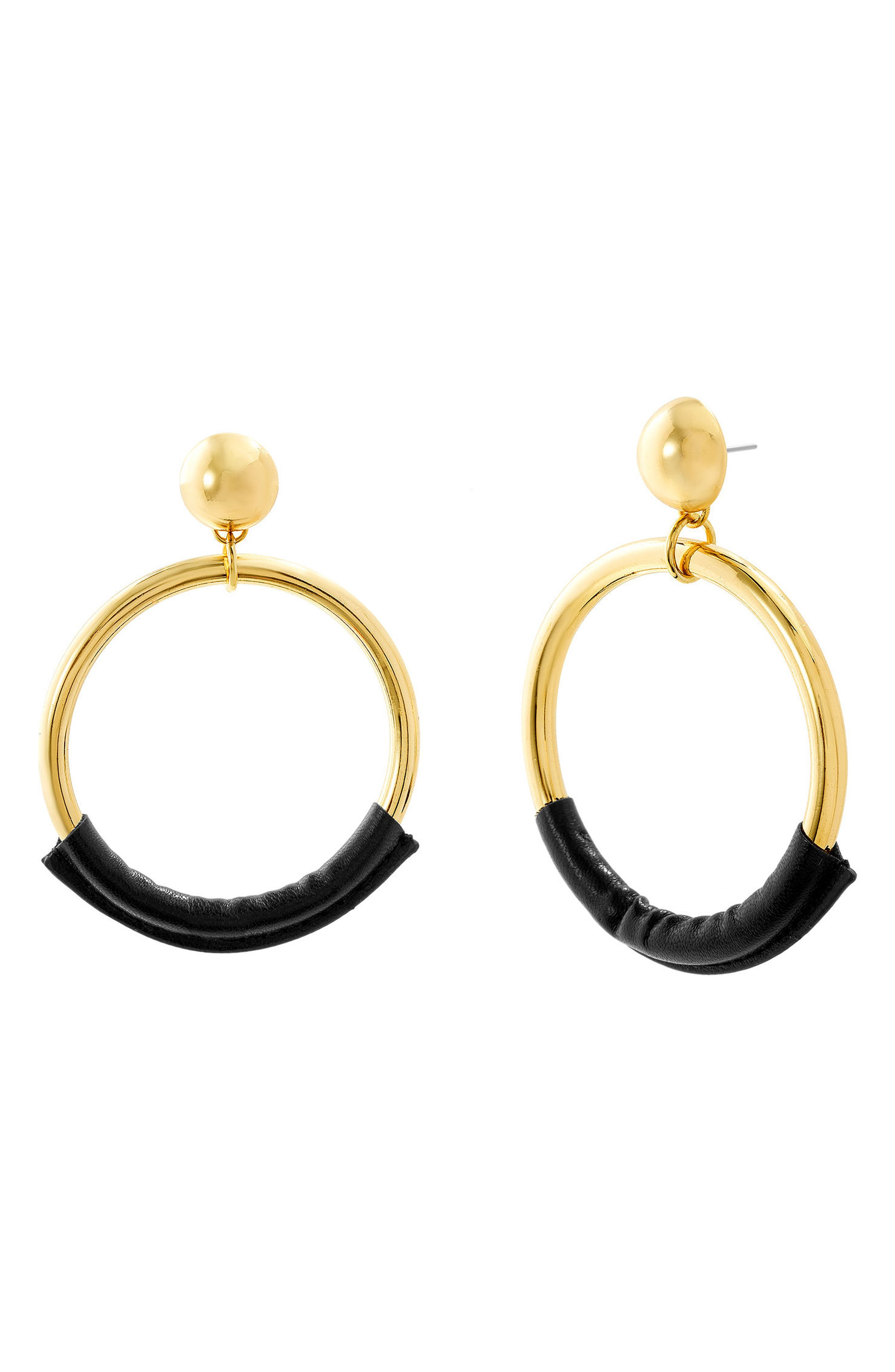 Leather Trim Hoop Earrings,                             Main thumbnail 1, color,                             Gold