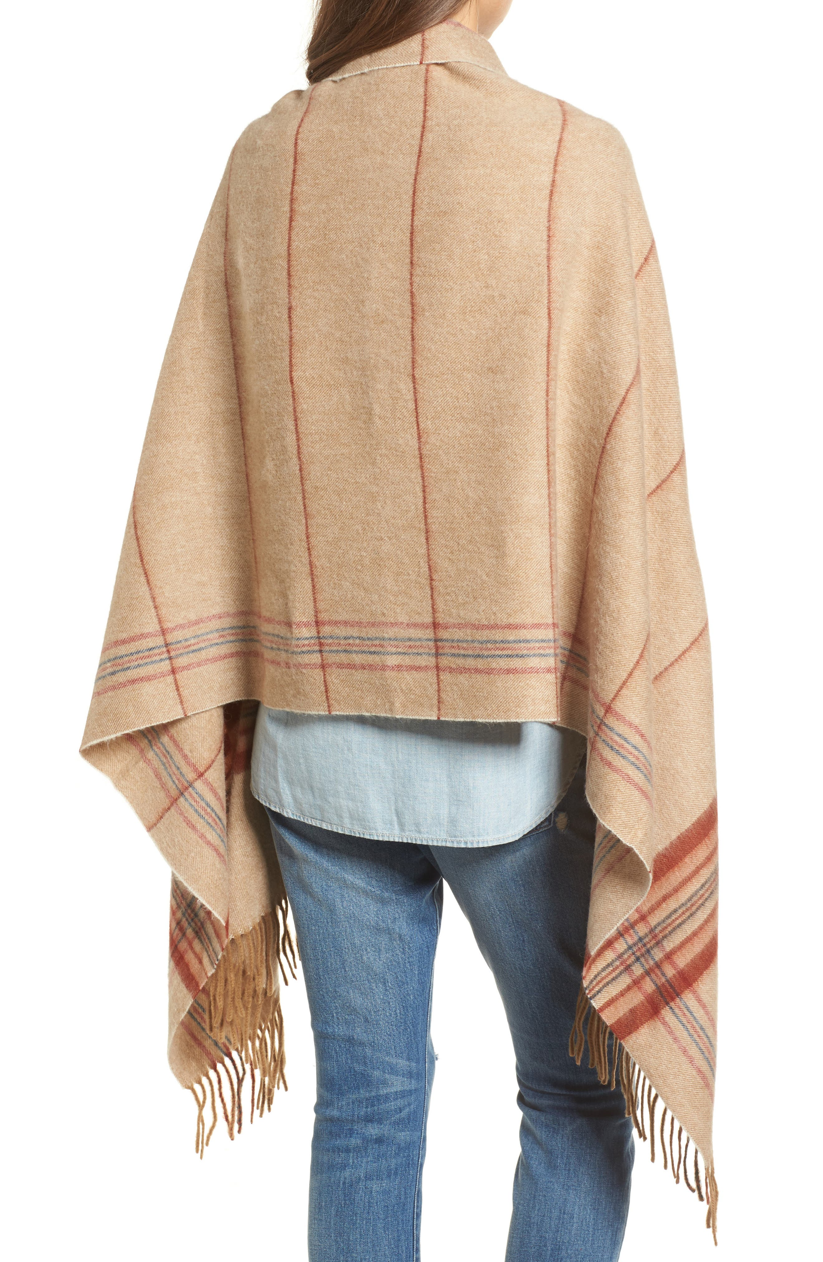 Placed Plaid Cape Scarf,                             Alternate thumbnail 2, color,                             Dark Camel Multi