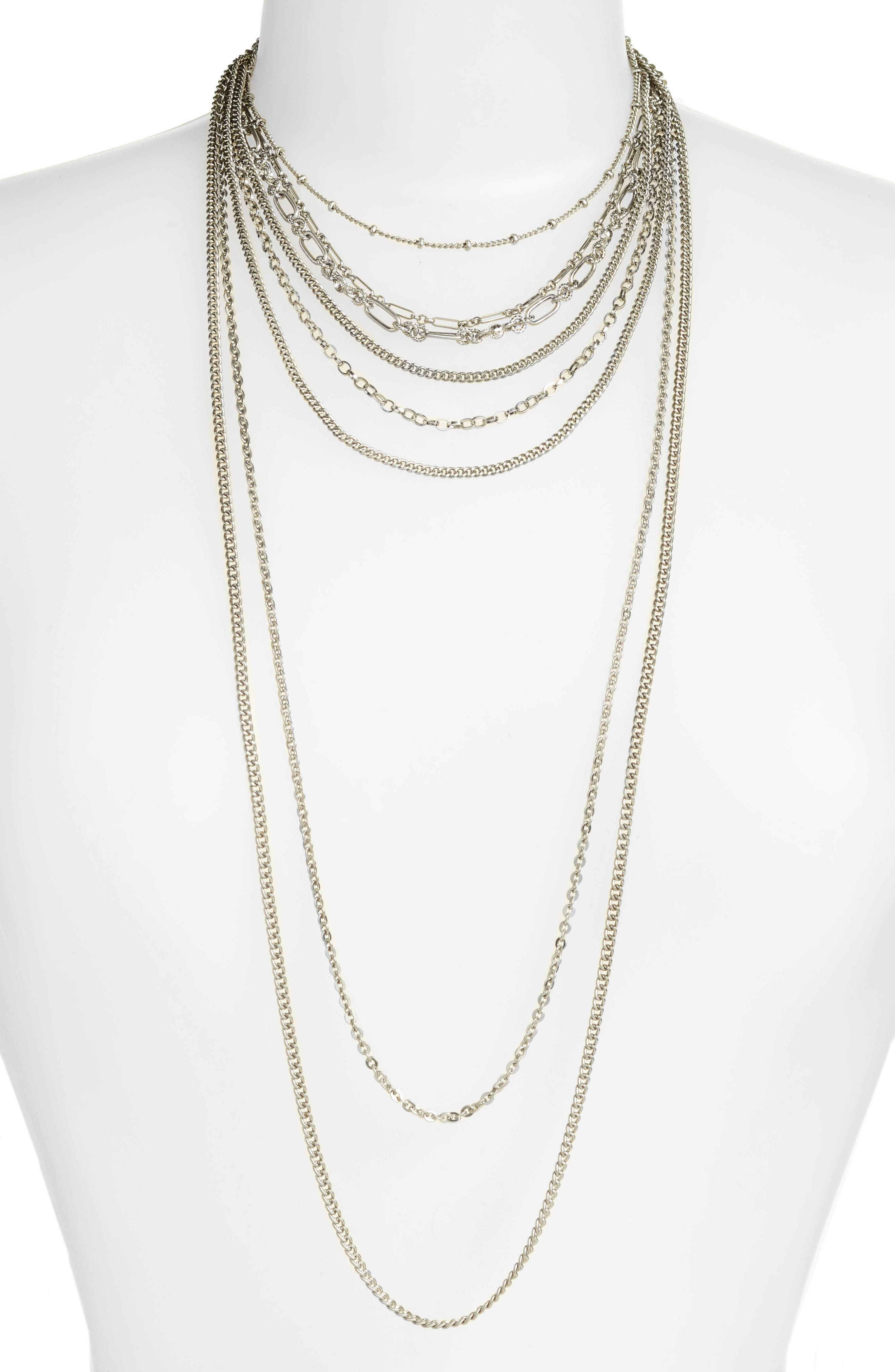 Multistrand Textured Chain Necklace,                         Main,                         color, Clear- Rhodium