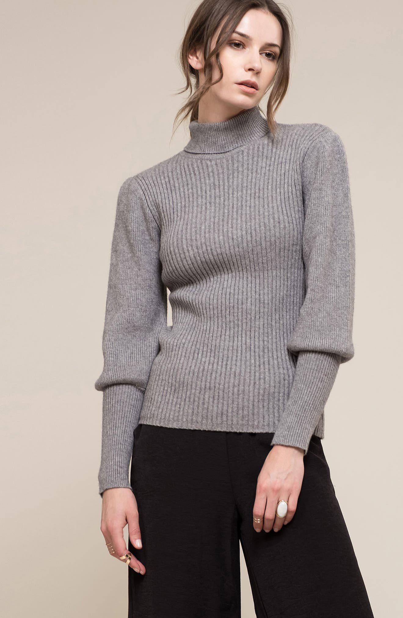 Puff Sleeve Sweater,                             Alternate thumbnail 7, color,                             Grey