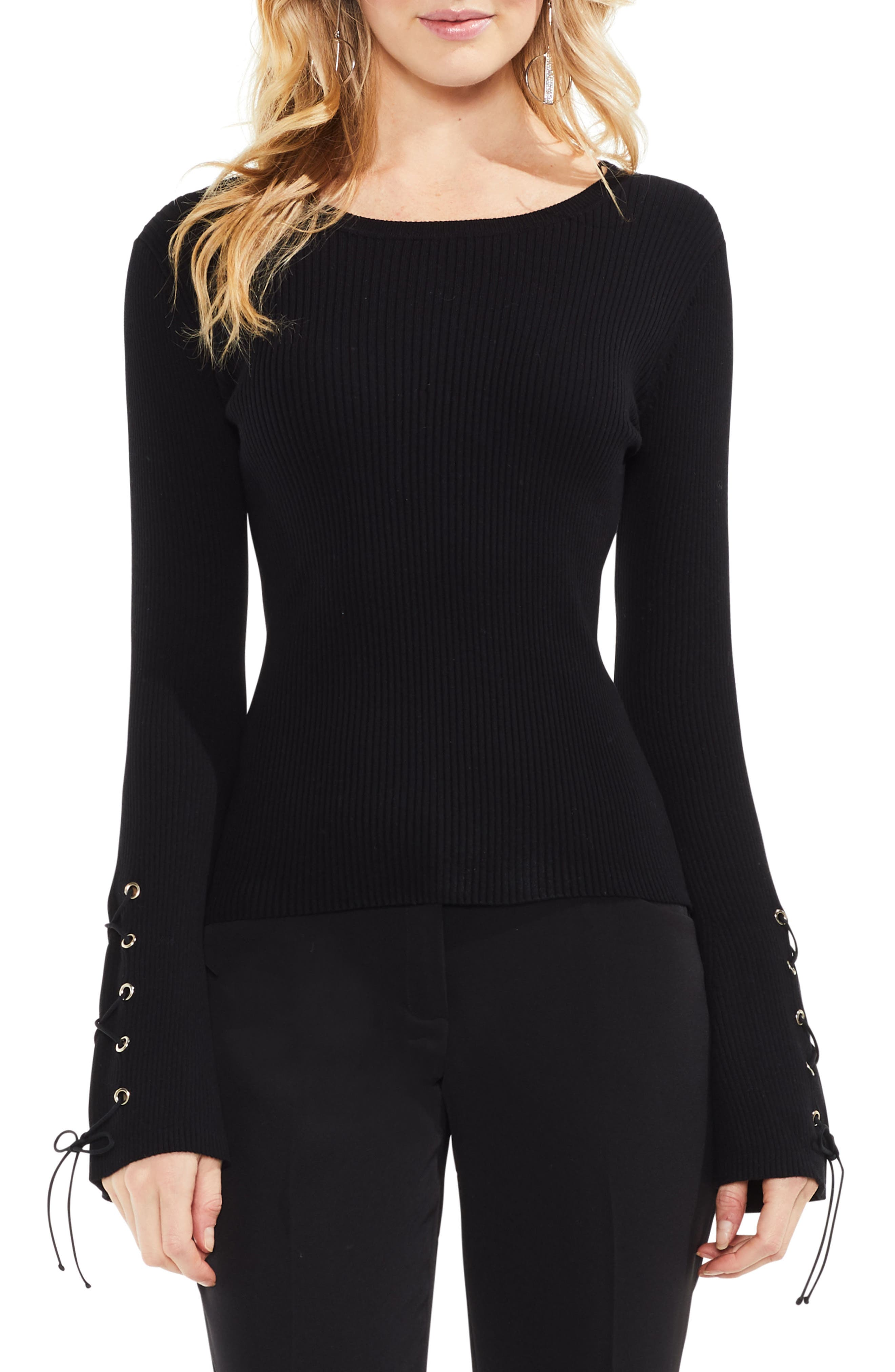Lace-Up Bell Sleeve Ribbed Sweater,                         Main,                         color, Rich Black