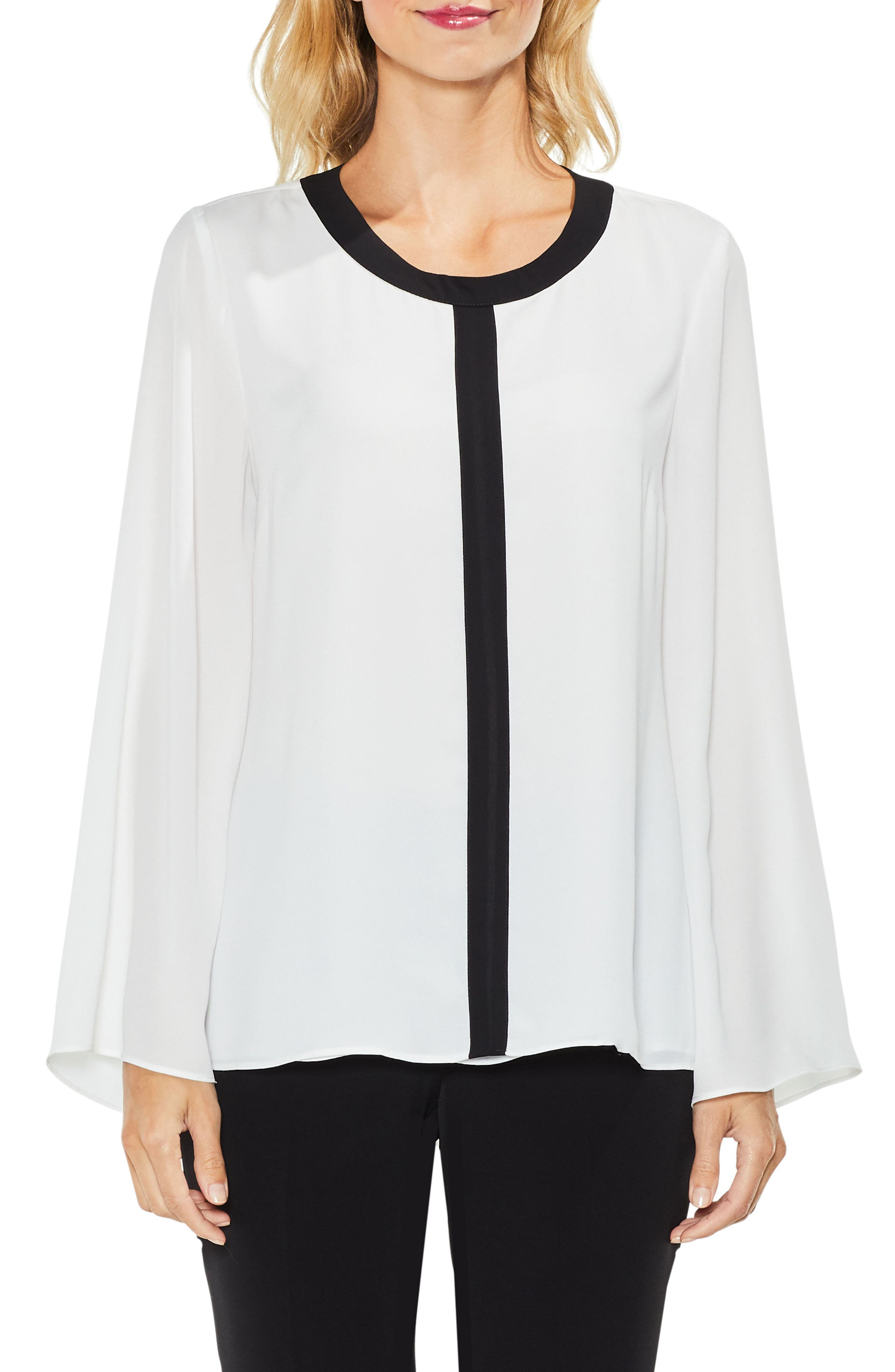 Contrast Trim Bell Sleeve Blouse,                         Main,                         color, New Ivory