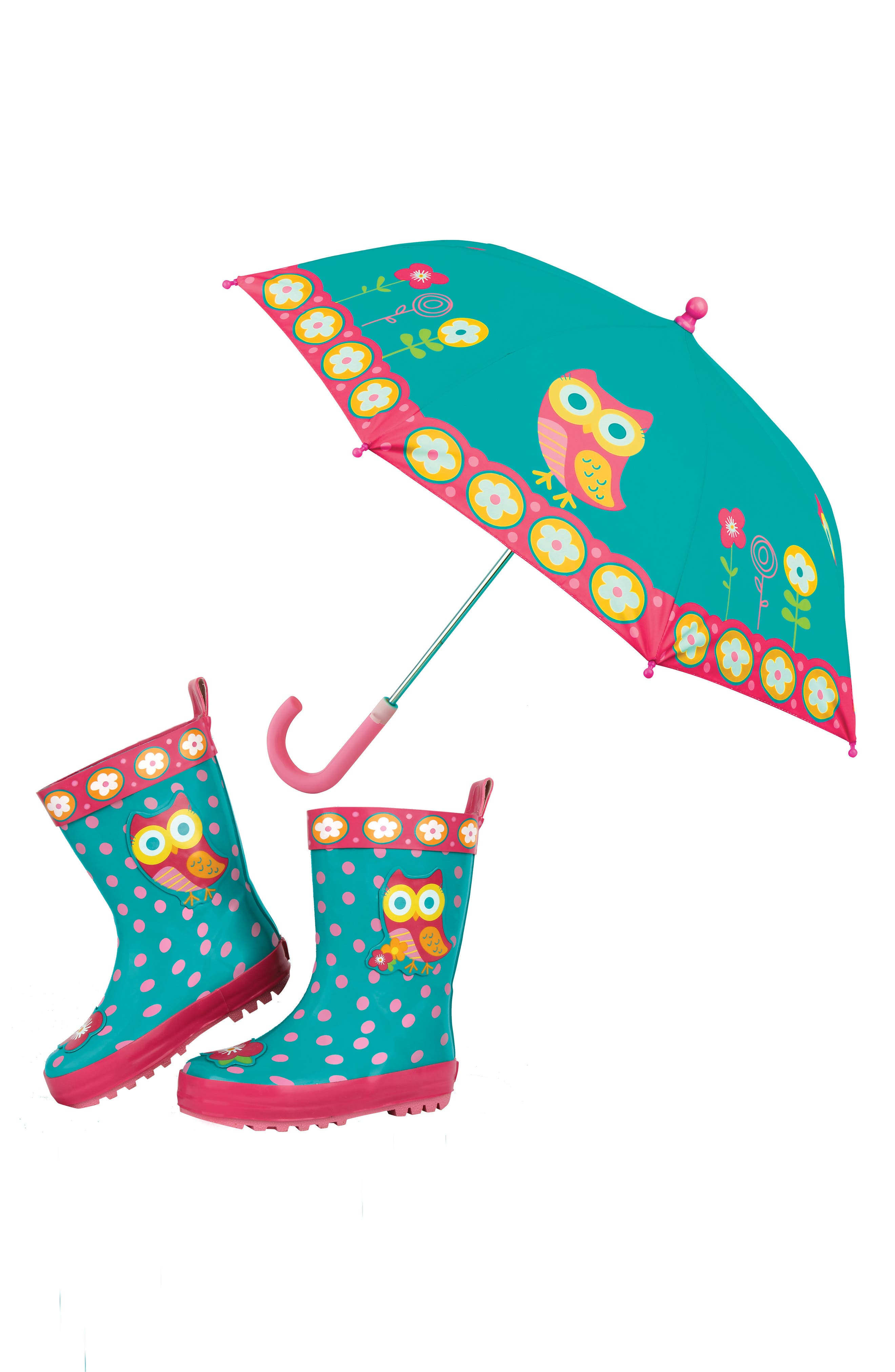 Alternate Image 1 Selected - Stephen Joseph Owl Rain Boots & Umbrella Set (Little Girls & Big Girls)