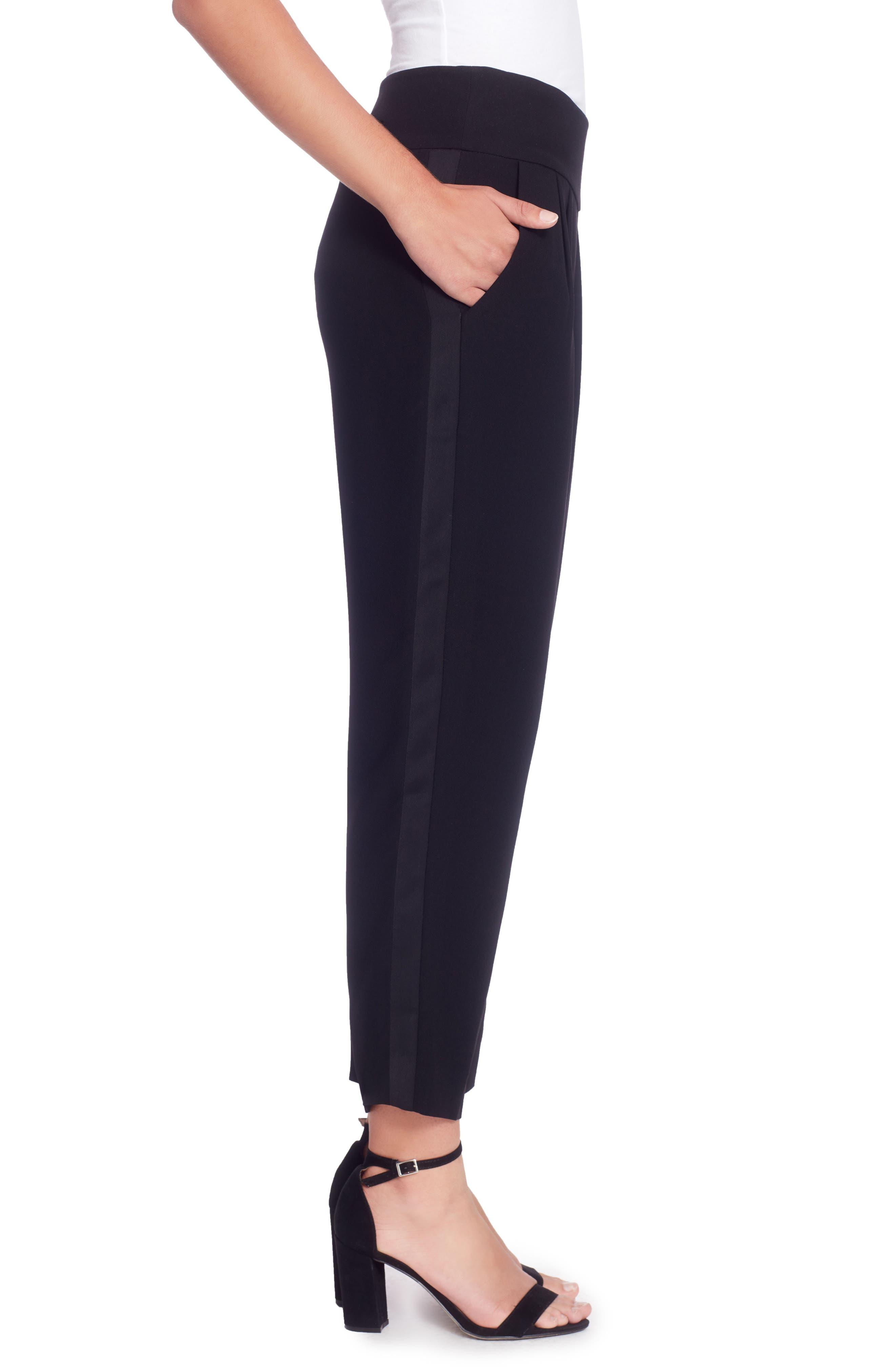 Luca Tuxedo Ankle Pants,                             Alternate thumbnail 3, color,                             Black