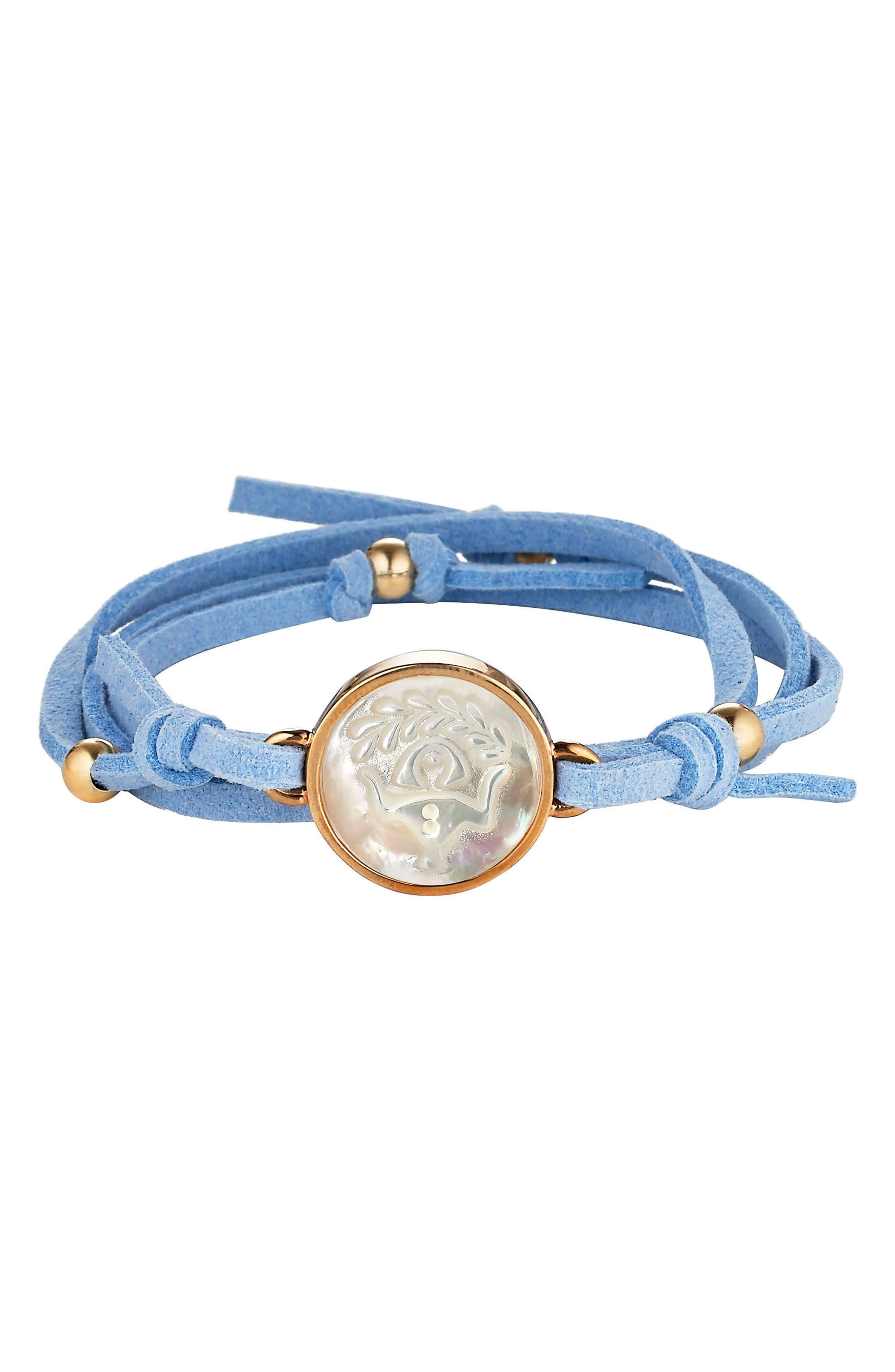 Zodiac Suede Wrap Bracelet,                             Main thumbnail 1, color,                             Light Blue - Virgo