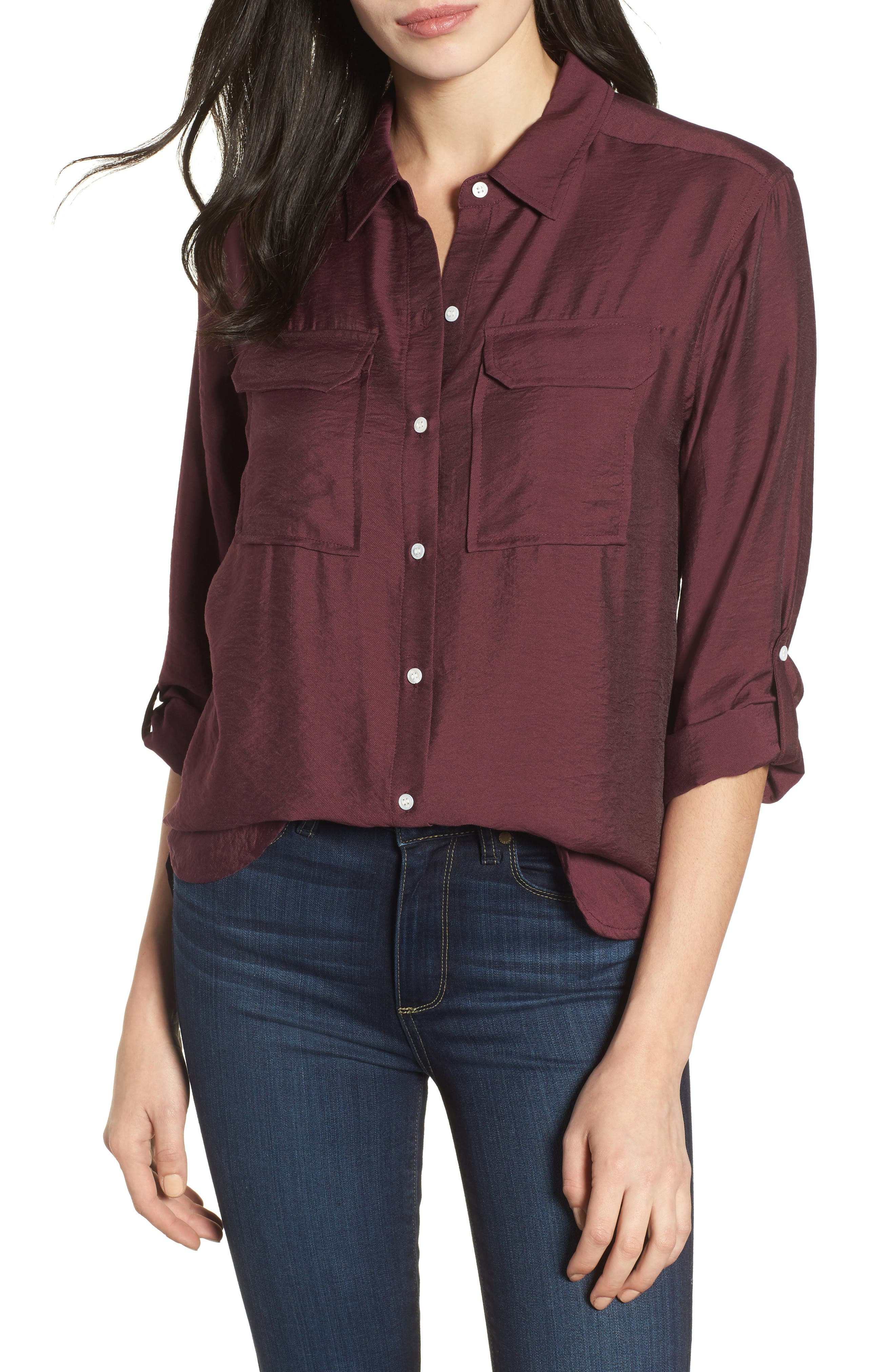 Utility Shirt,                         Main,                         color, Cabernet