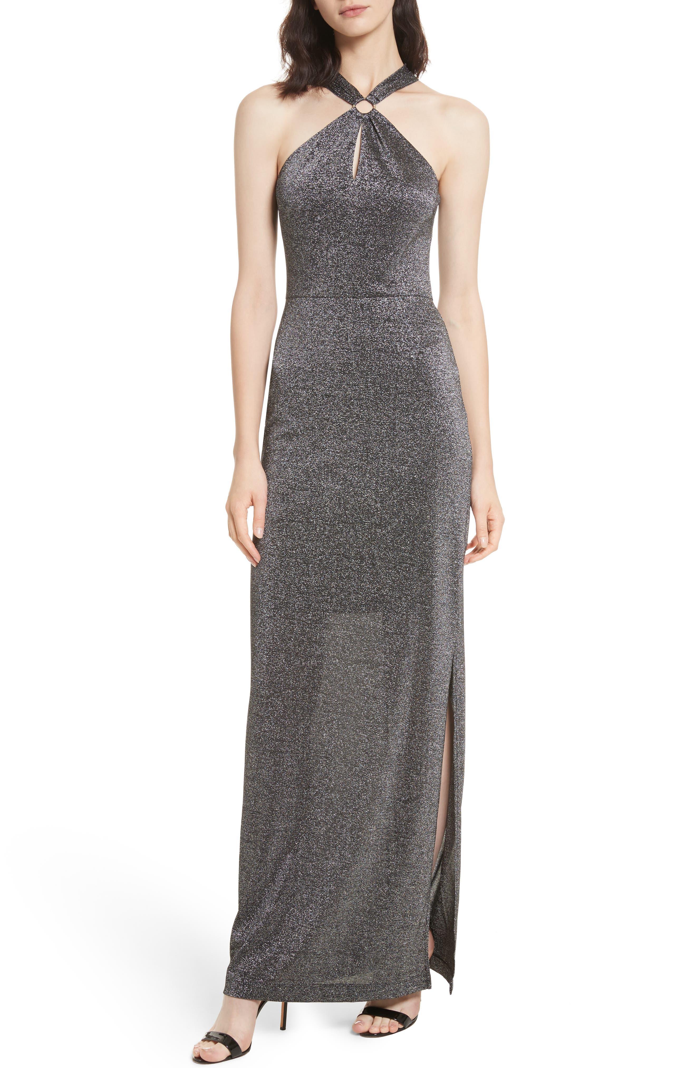Metallic Knit Maxi Dress,                         Main,                         color, Black