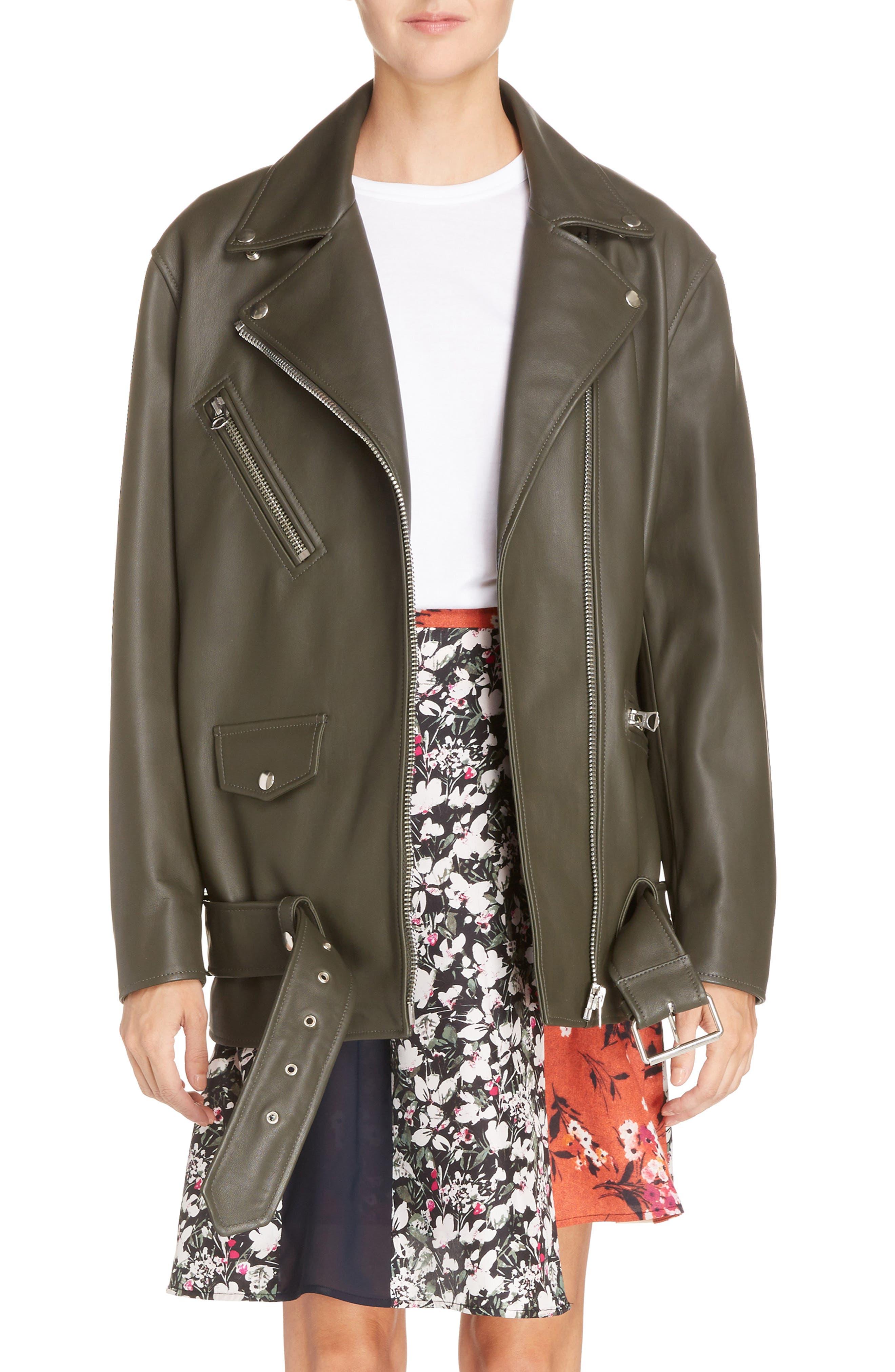 Myrtle Leather Jacket,                         Main,                         color, Dark Khaki