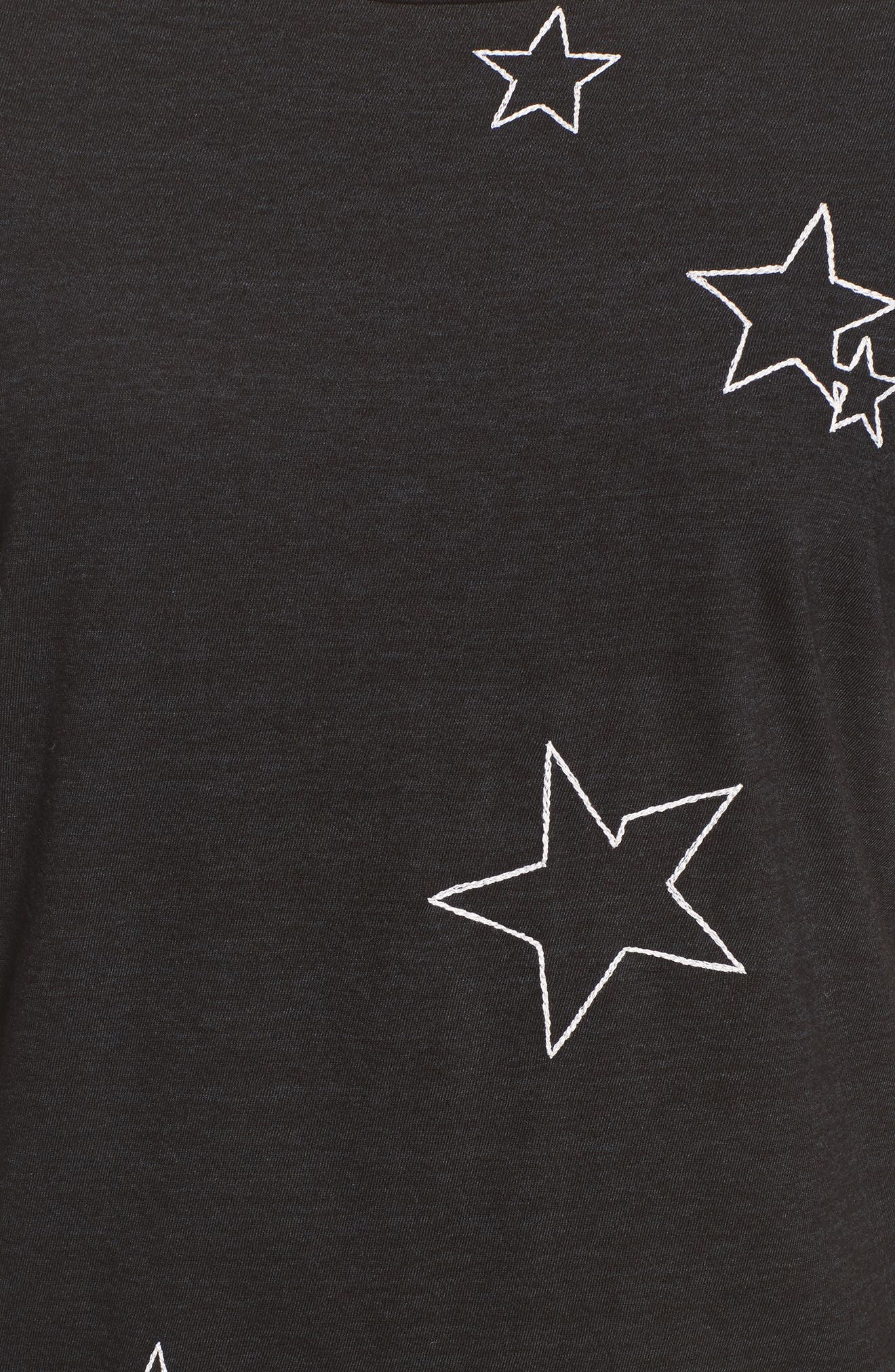 Destroyed Star Embroidered Tee,                             Alternate thumbnail 5, color,                             Black