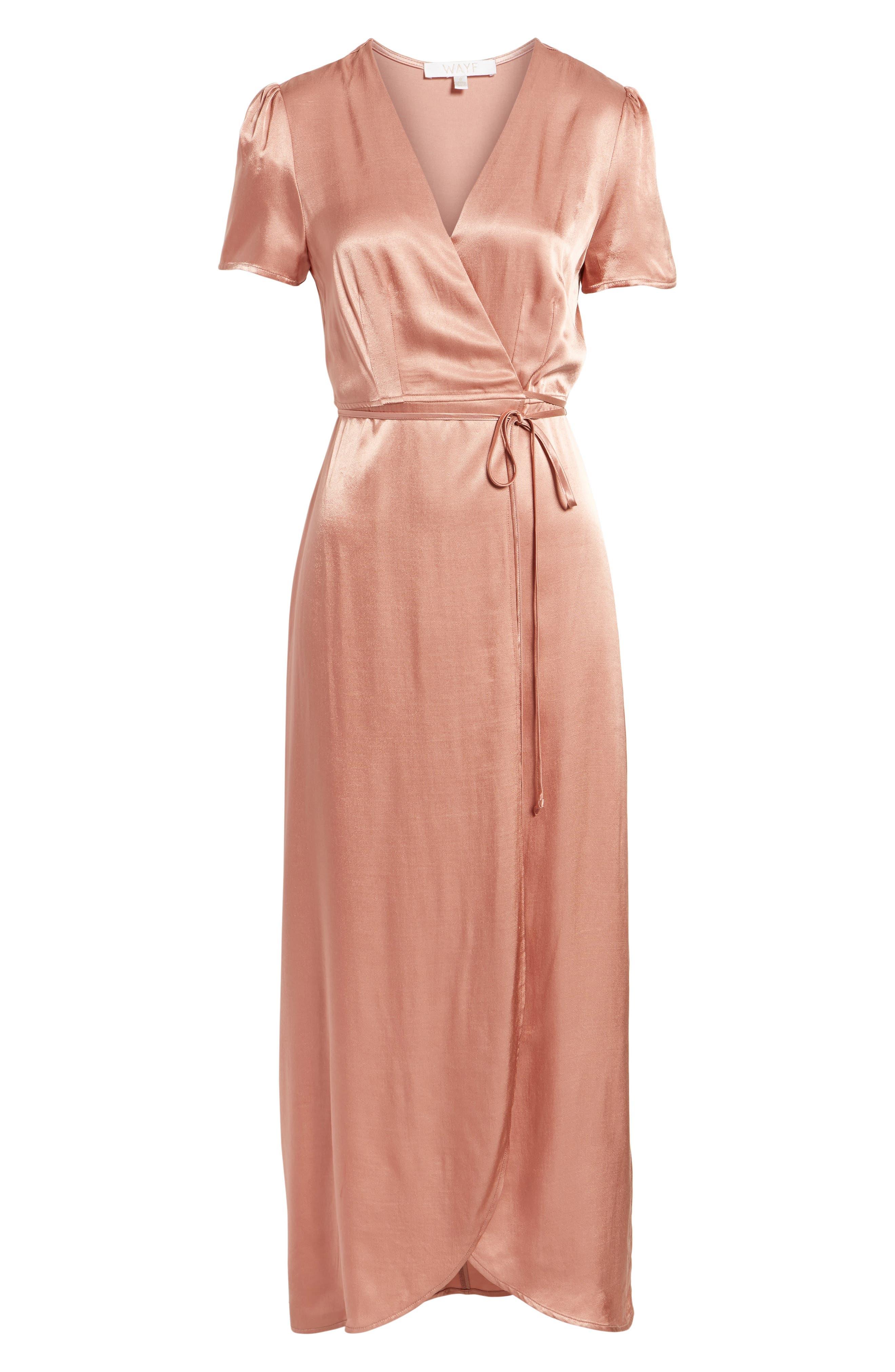Gwyneth Wrap Maxi Dress,                             Alternate thumbnail 6, color,                             Dusty Rose