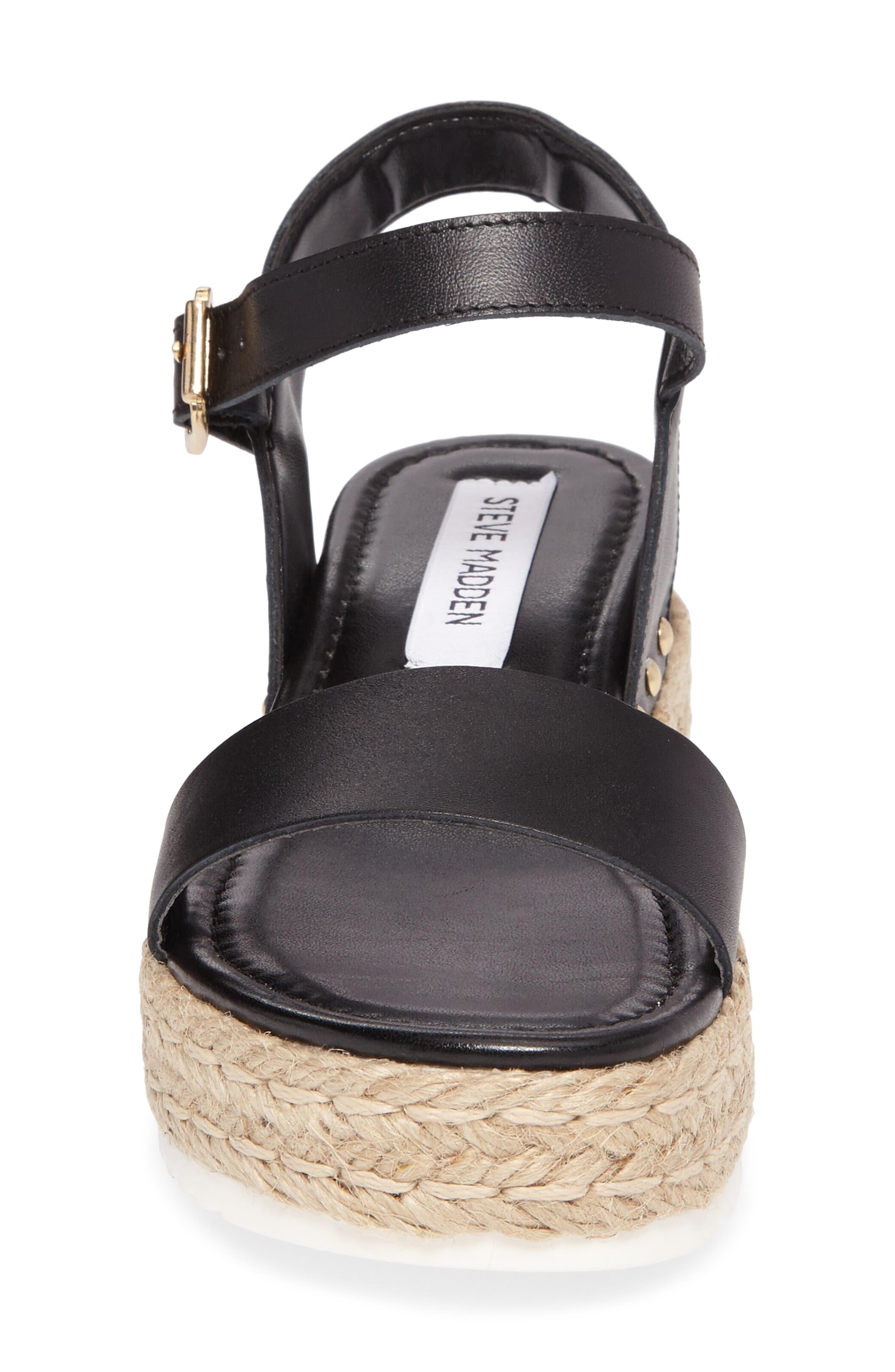Chiara Platform Espadrille Sandal,                             Alternate thumbnail 4, color,                             Black Leather