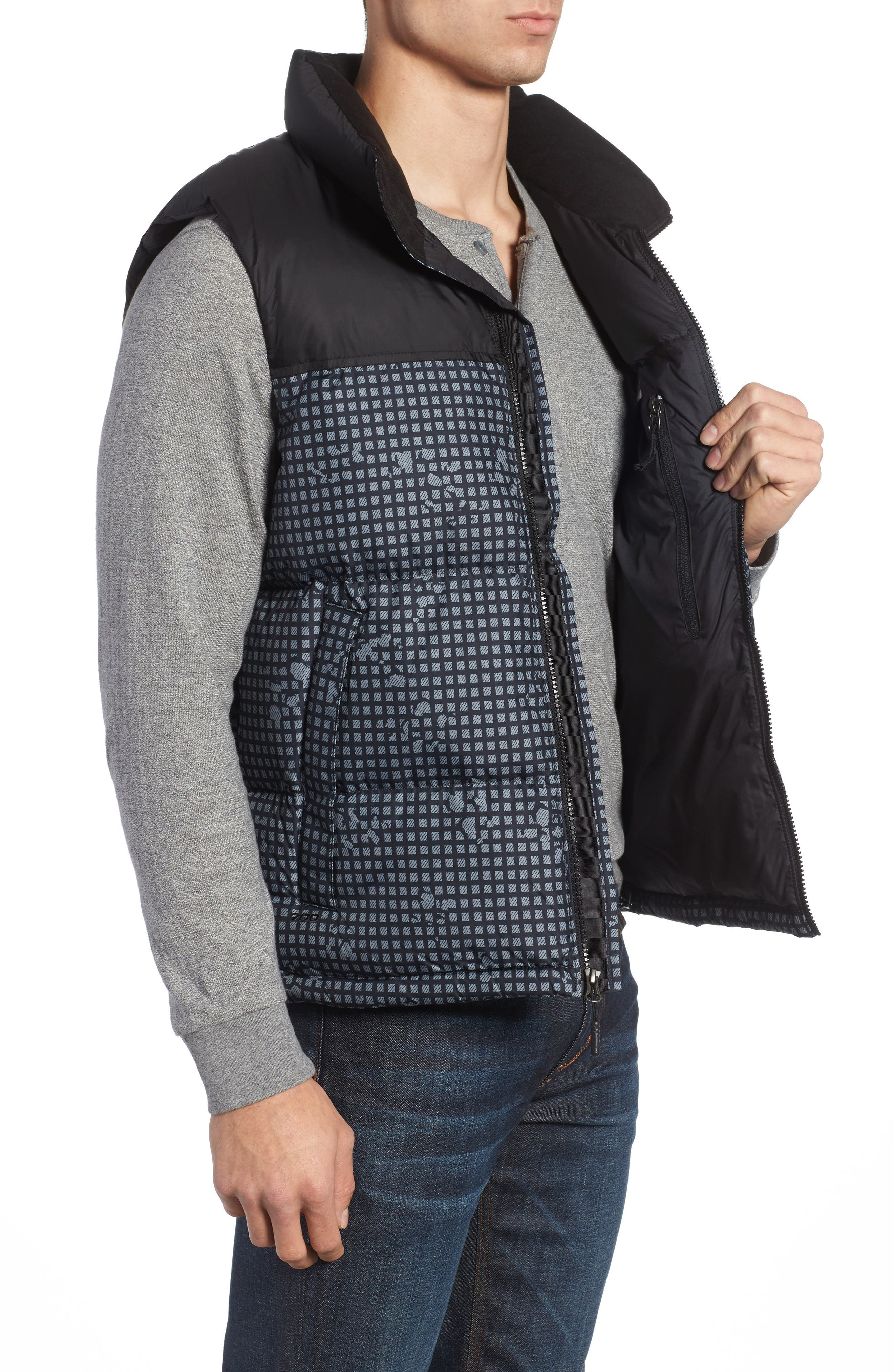 'Nuptse' Quilted Vest,                             Alternate thumbnail 3, color,                             Black Nightmoves / Black