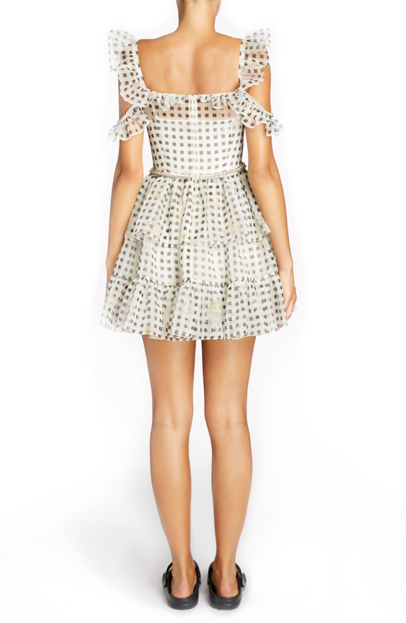 Alternate Image 2  - Christopher Kane Check Print Off the Shoulder Silk Mini Dress
