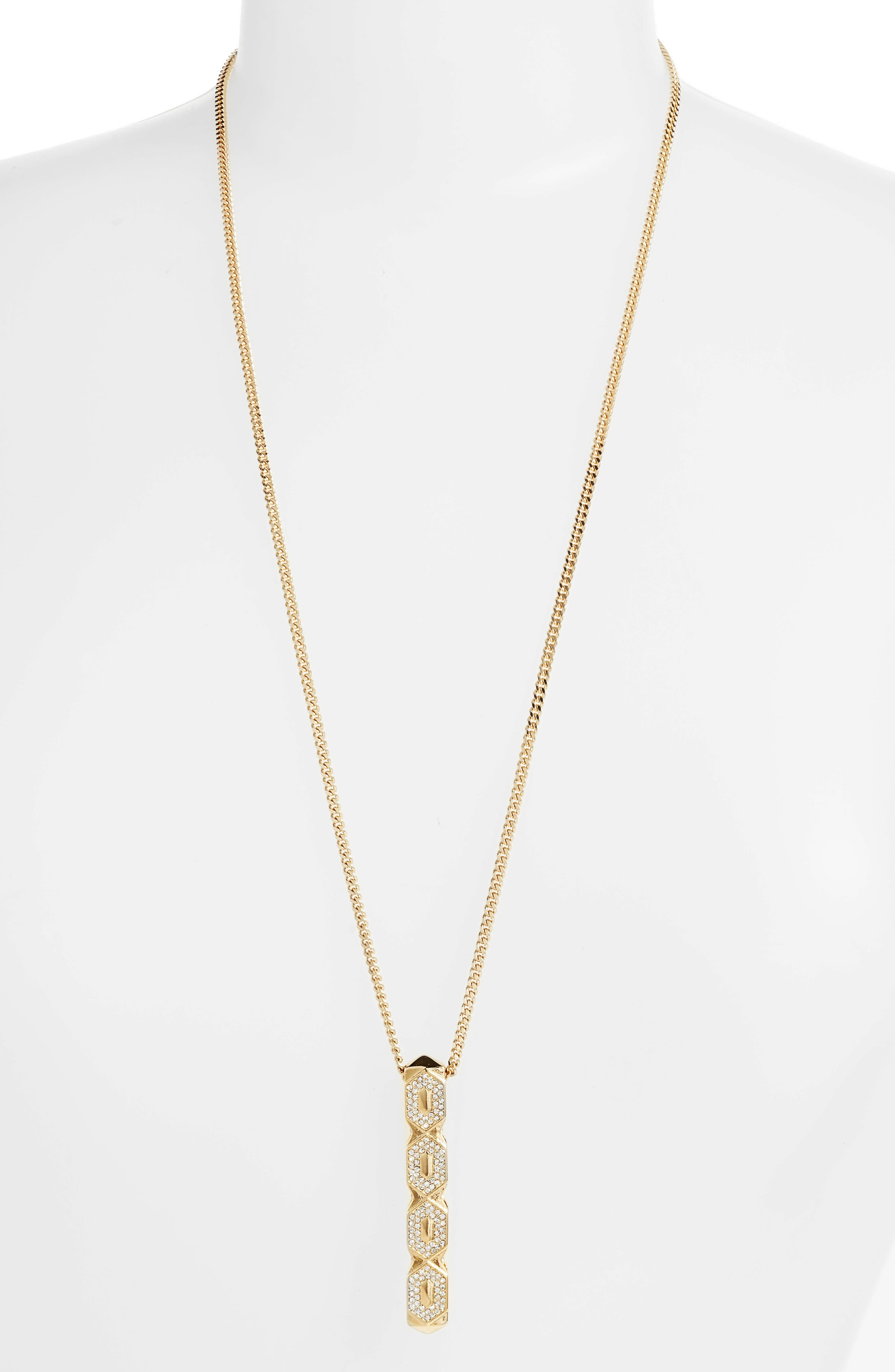 Crystal Pendant Necklace,                         Main,                         color, Gold