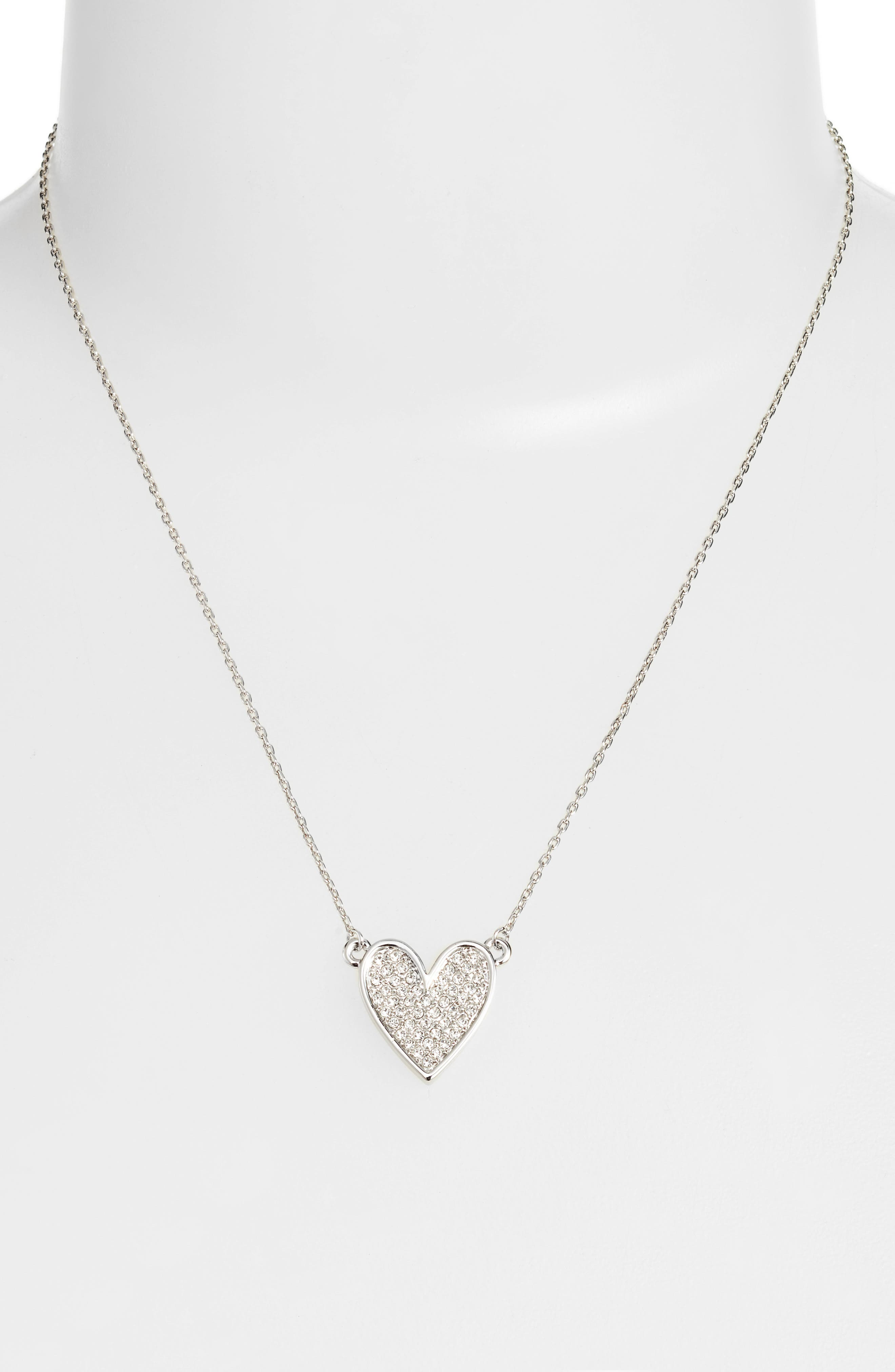 Pavé Heart Pendant Necklace,                             Alternate thumbnail 2, color,                             Silver