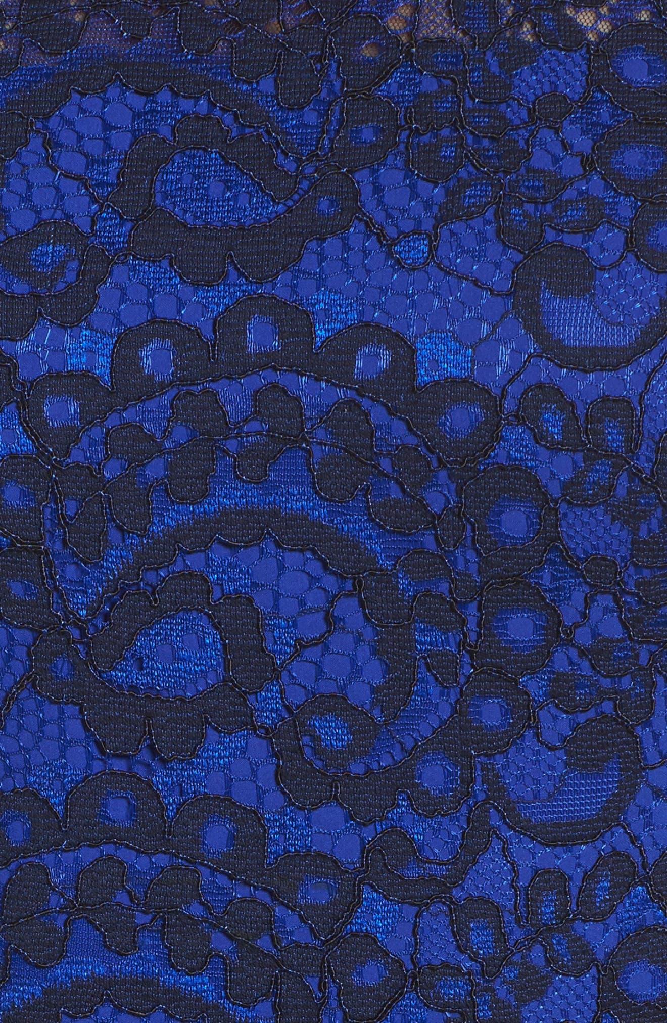Lace Midi Dress,                             Alternate thumbnail 5, color,                             Cobalt/ Navy