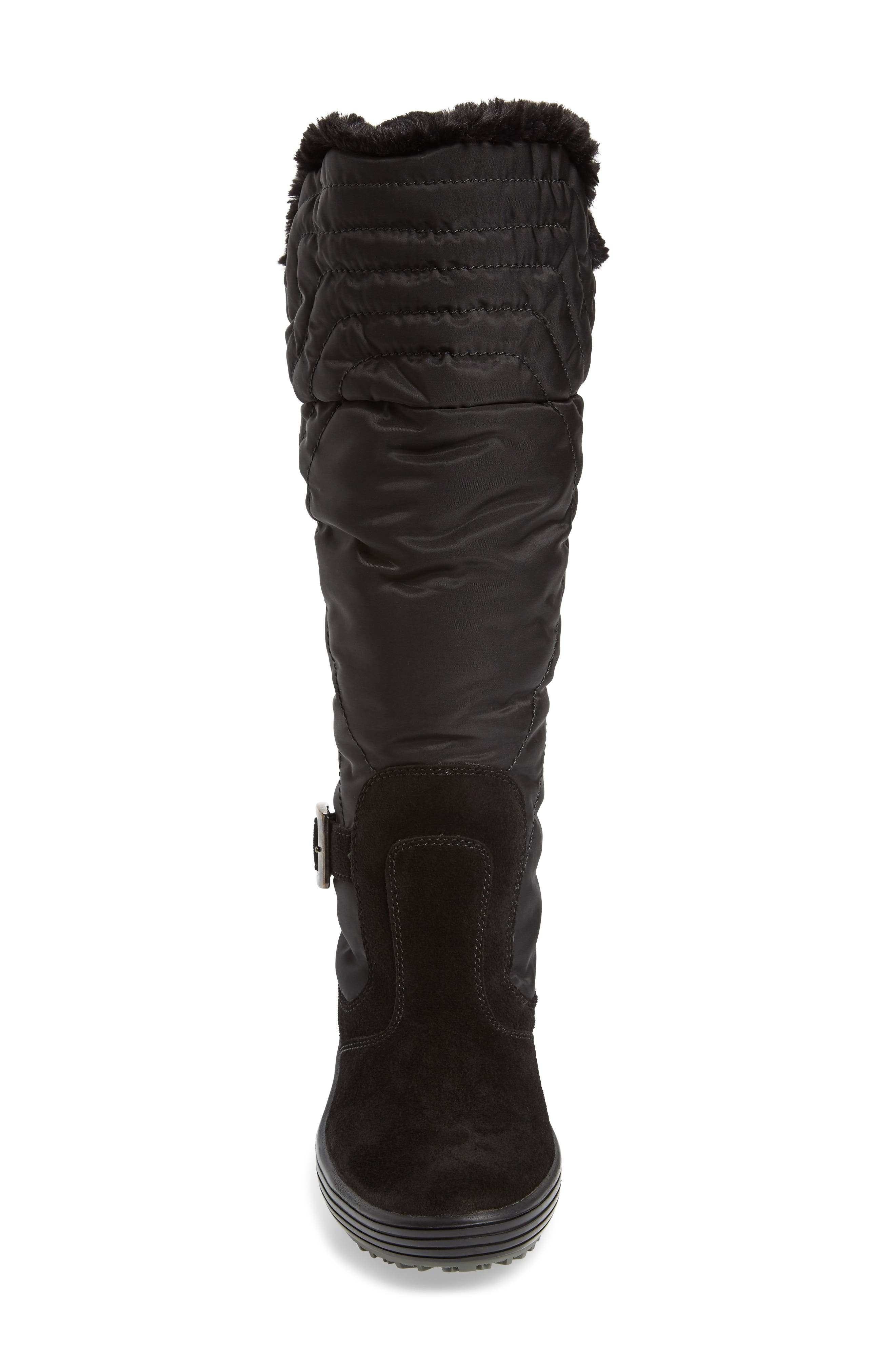 Natasha Faux Fur Lined Waterproof Boot,                             Alternate thumbnail 4, color,                             Black Suede
