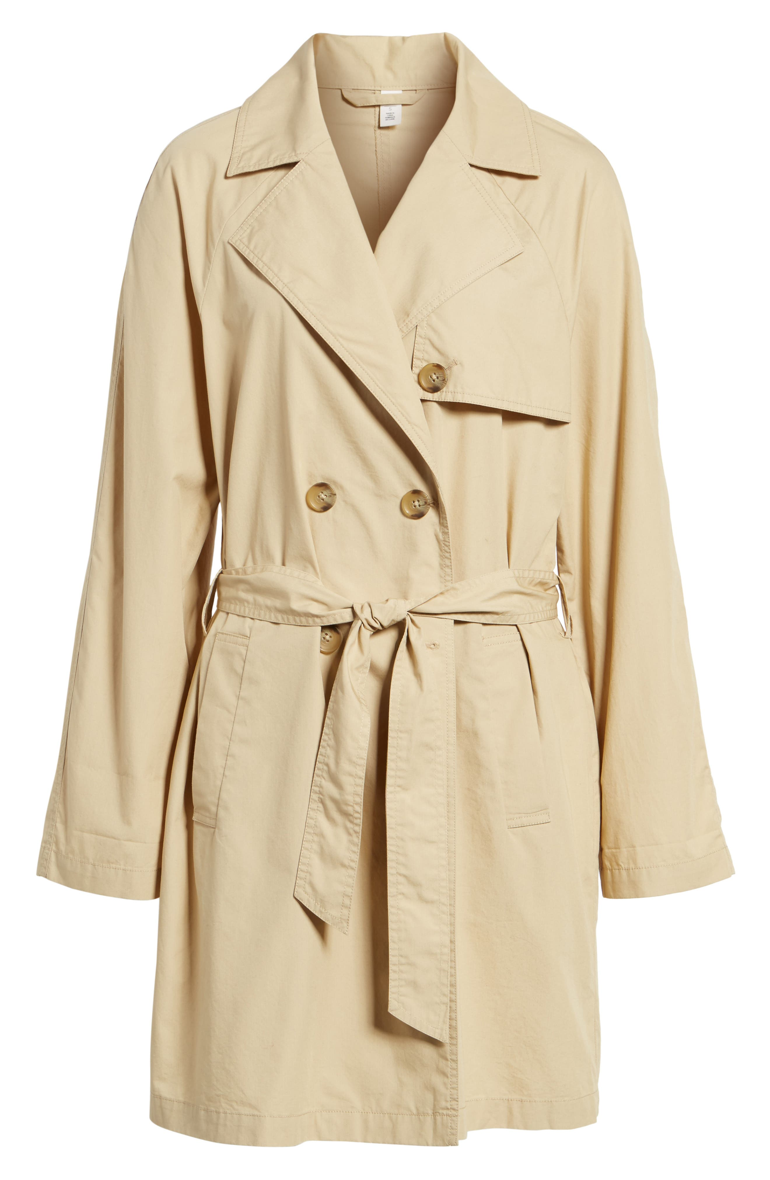 Double Breasted Belted Trench Coat,                             Alternate thumbnail 7, color,                             Beige Nougat