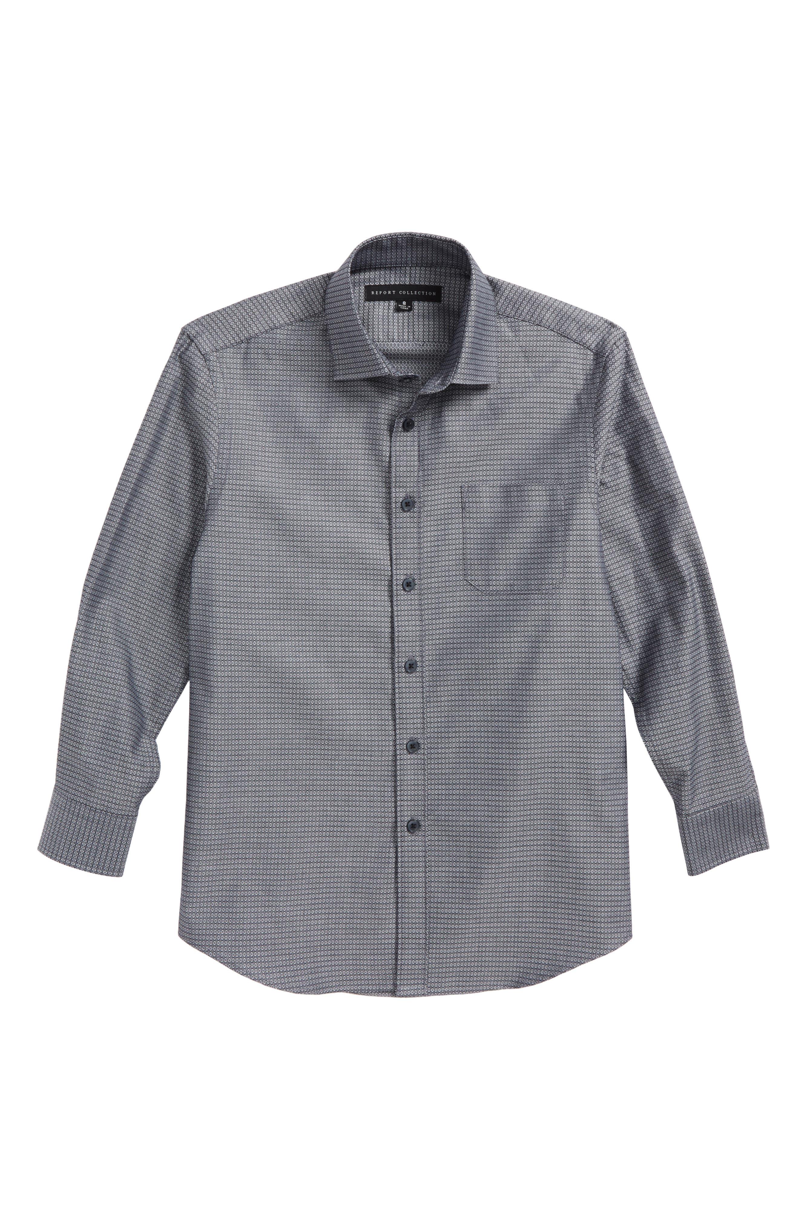 Diamond Grid Dress Shirt,                         Main,                         color, Grey