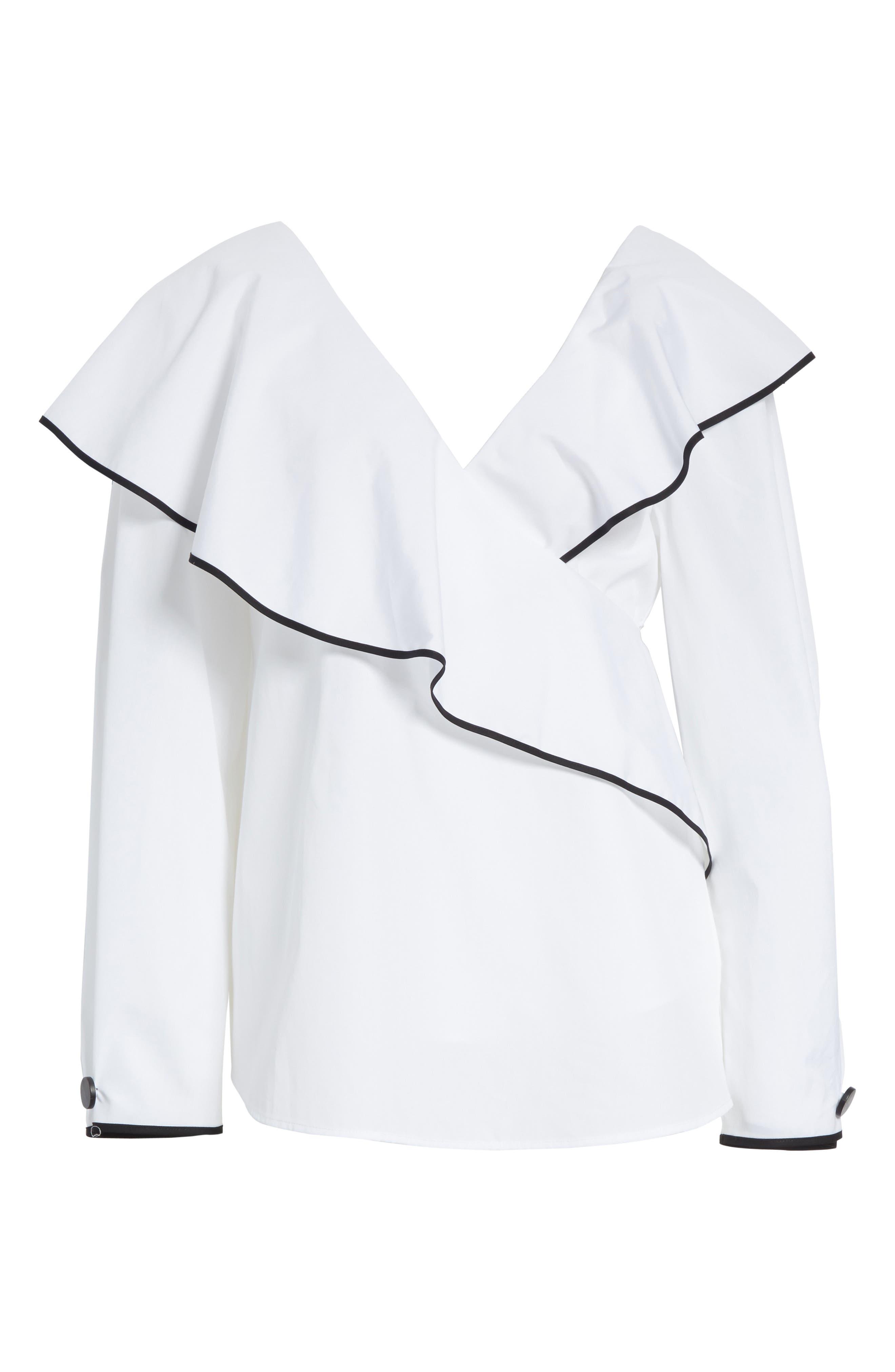 Diane von Furstenberg Piped Ruffled Poplin Blouse,                             Alternate thumbnail 6, color,                             White