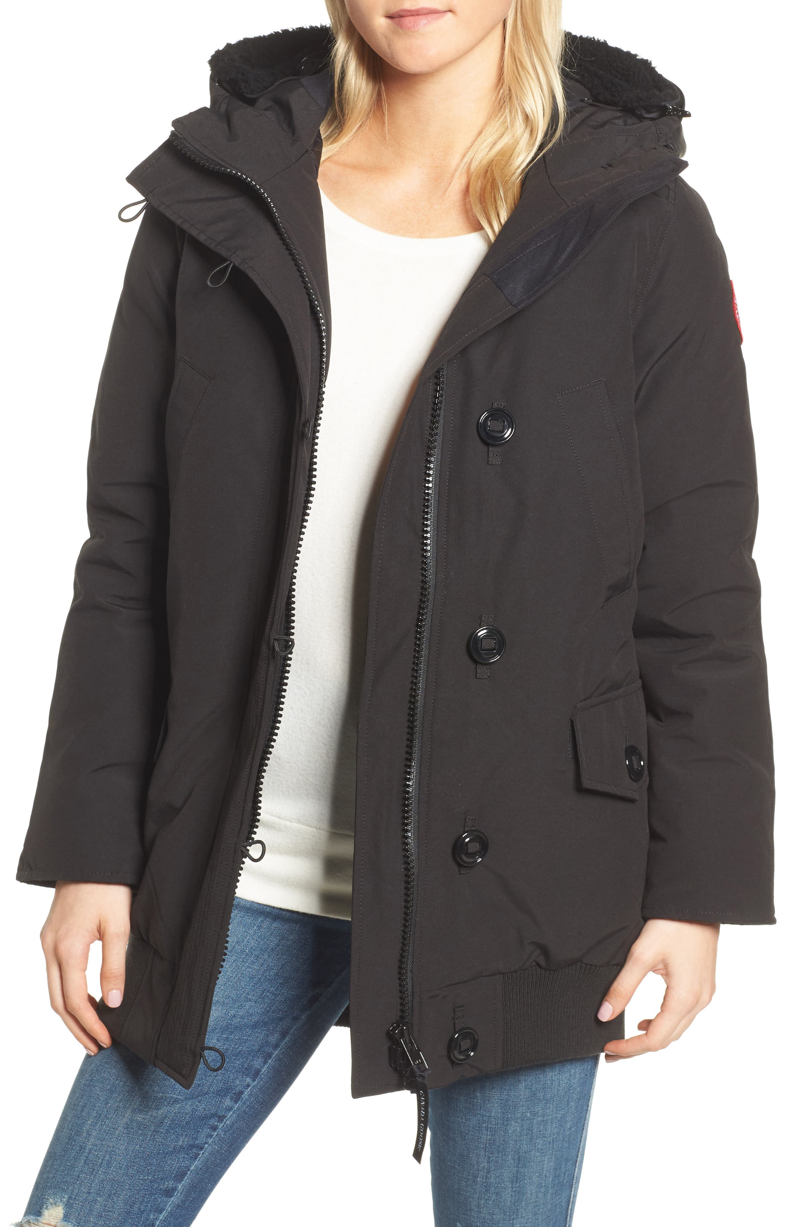 Finnegan 625-Fill Power Down Parka with Genuine Shearling Hood Lining,                             Main thumbnail 1, color,                             Black
