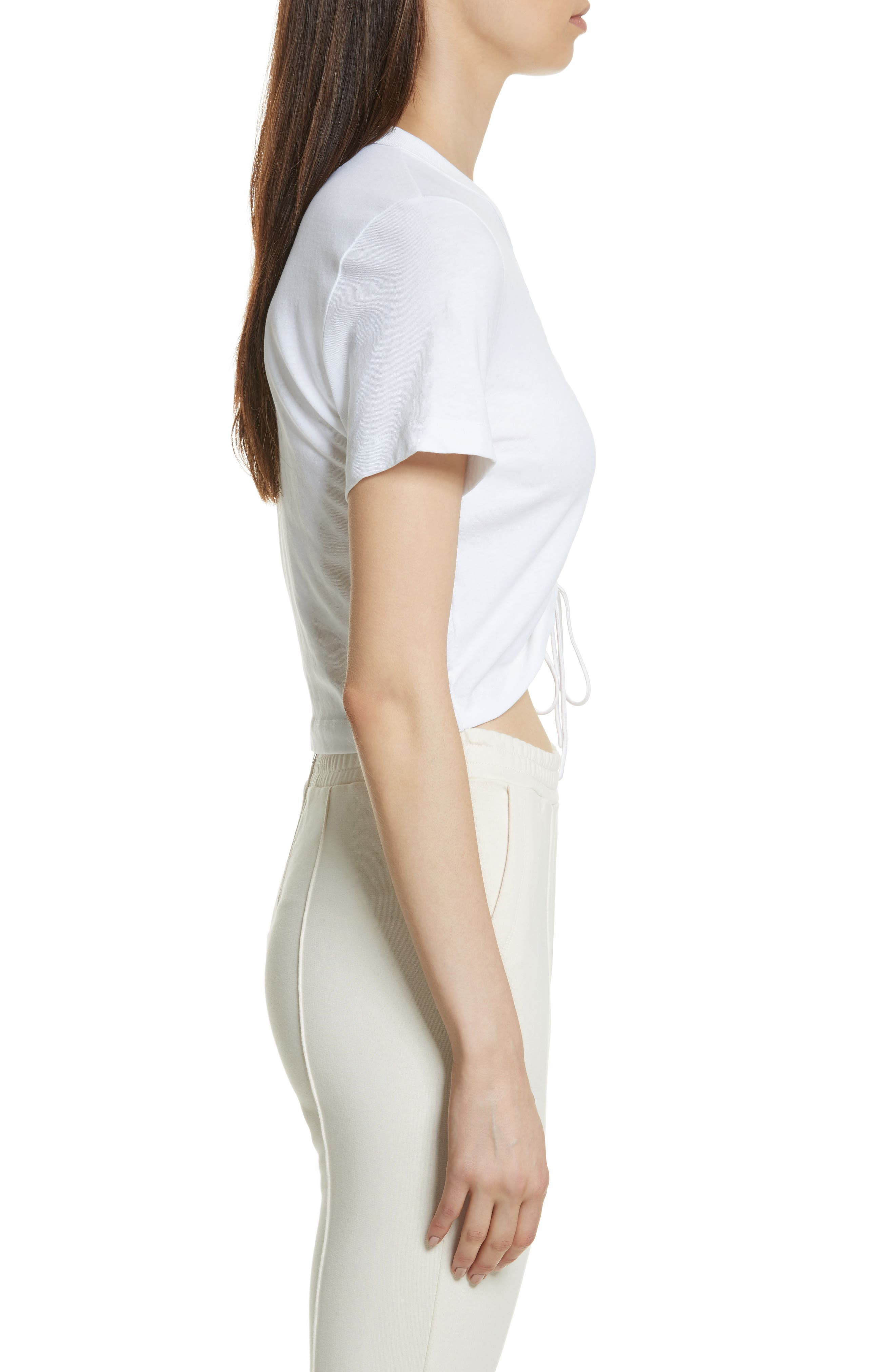 Ruched Cotton Tee,                             Alternate thumbnail 4, color,                             White
