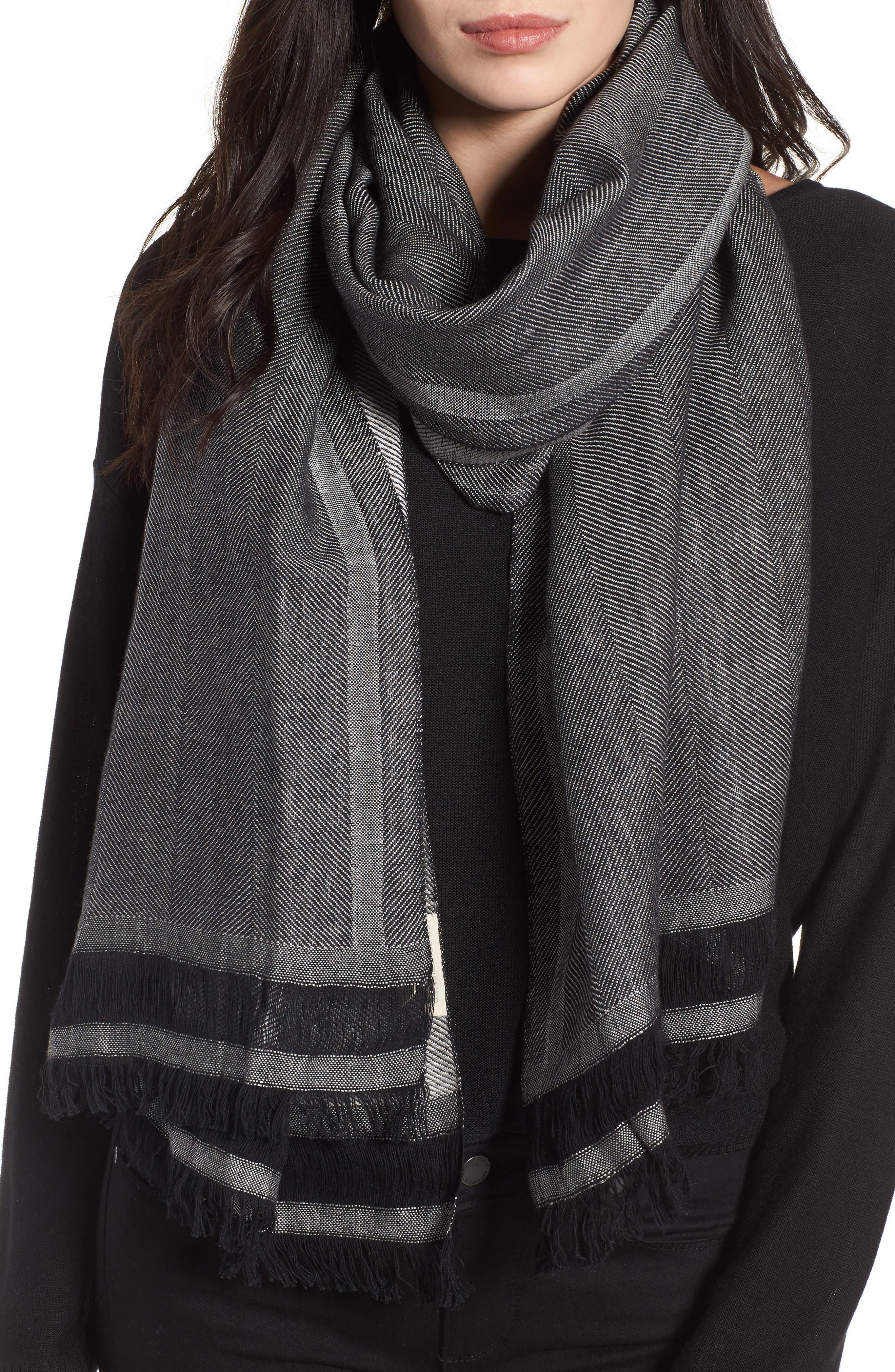 Woven Stripe Scarf,                             Main thumbnail 1, color,                             Black
