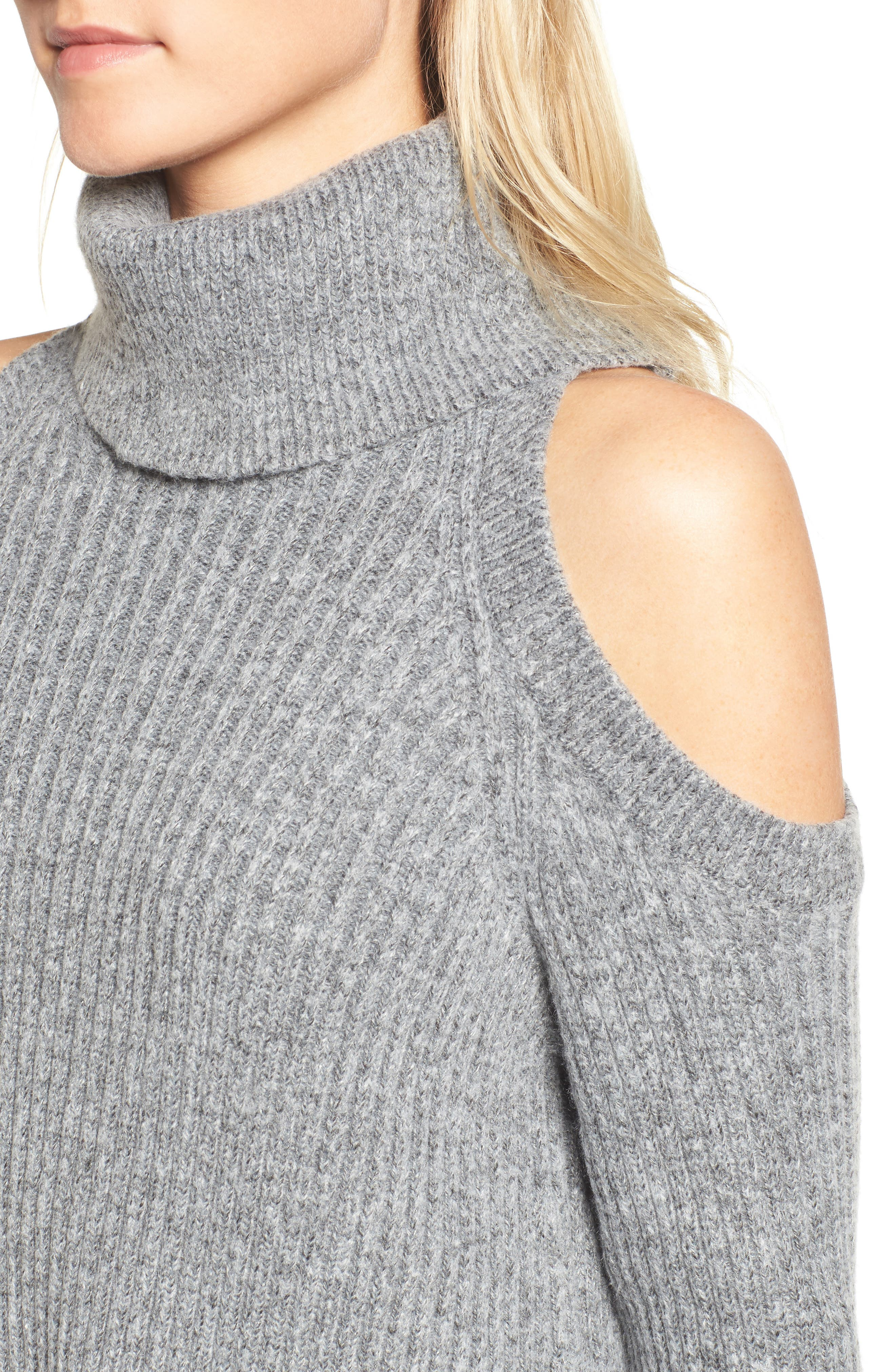 Rodell Cold Shoulder Sweater,                             Alternate thumbnail 4, color,                             Medium Heather Grey