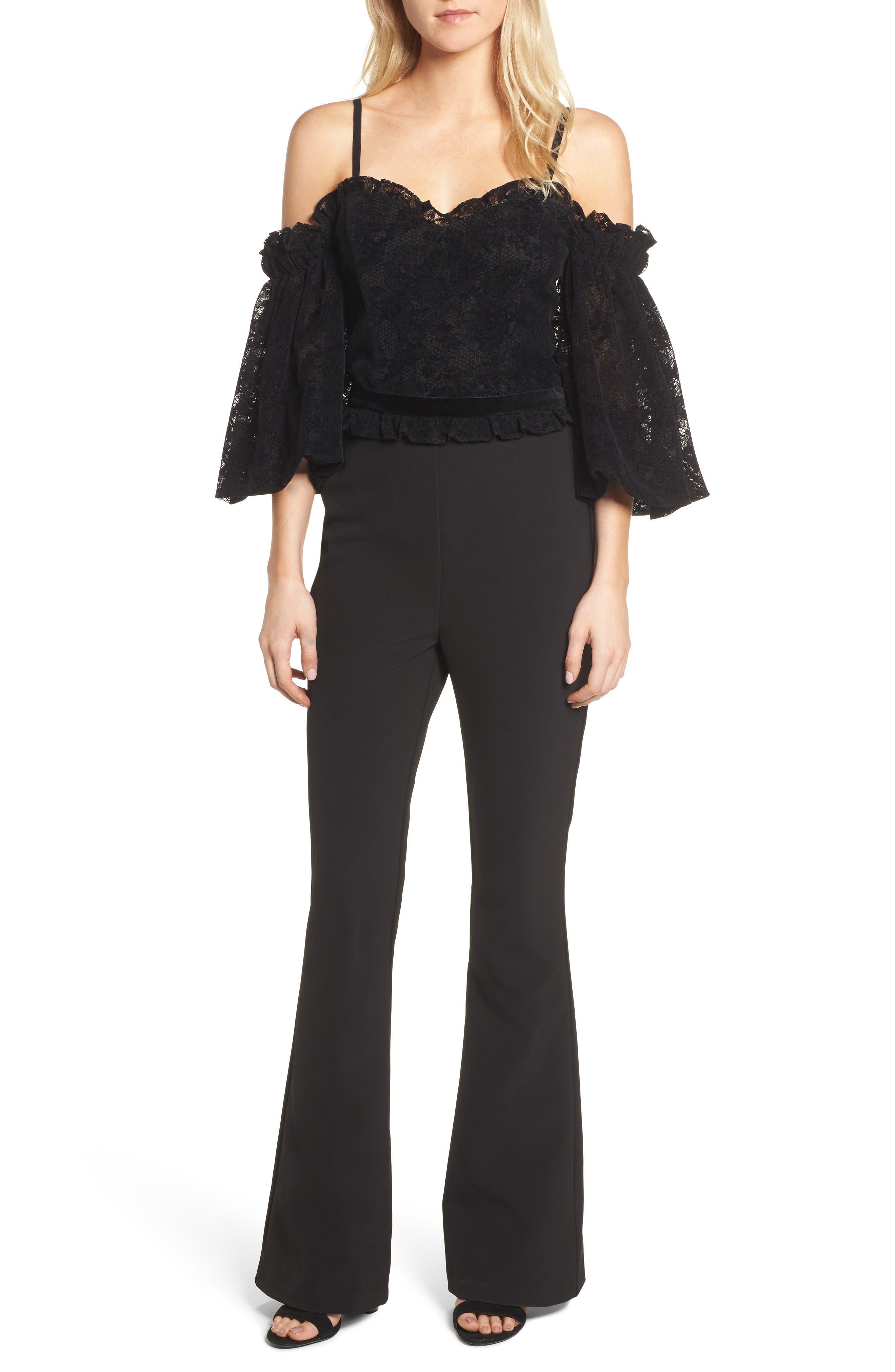 Rowen Off the Shoulder Jumpsuit,                         Main,                         color, Black