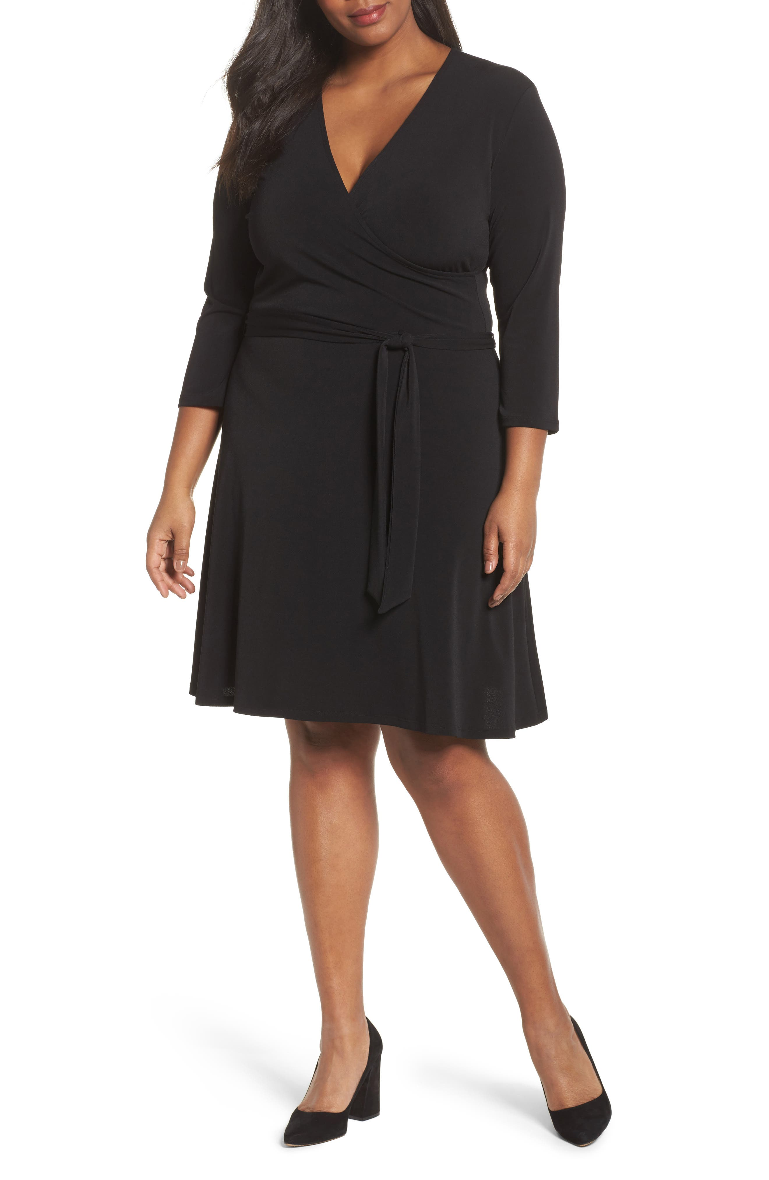 Wrap Dress,                             Main thumbnail 1, color,                             Black Crepe